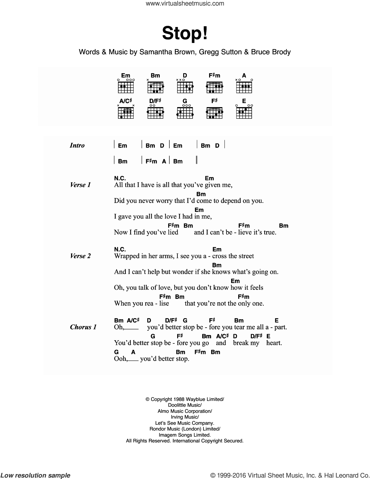 Stop! sheet music for guitar (chords) by Sam Brown, Bruce Brody, Gregg Sutton and Samantha Brown, intermediate skill level