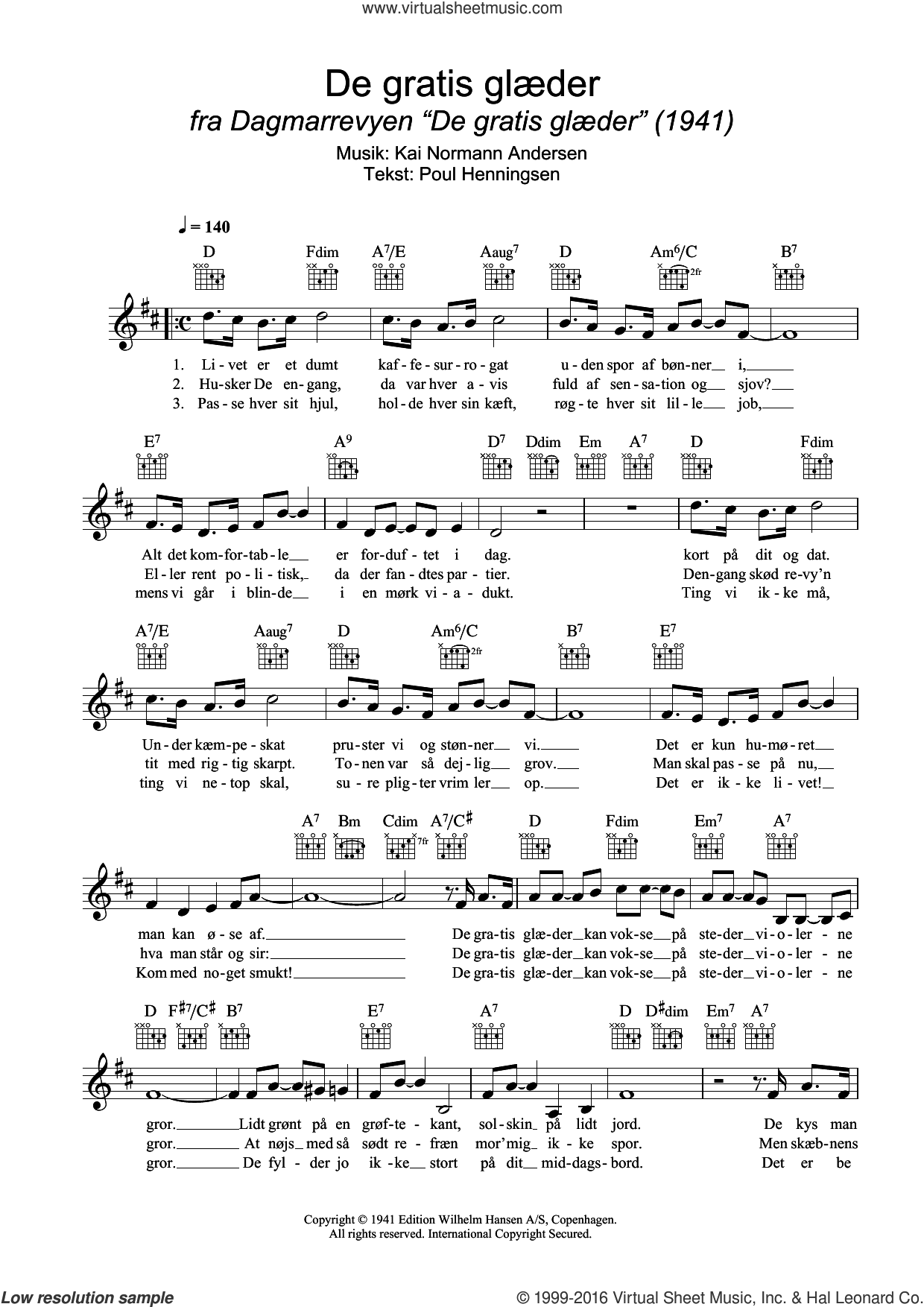 De Gratis Glaeder sheet music for voice and other instruments (fake book) by Kai Normann Andersen, intermediate voice. Score Image Preview.