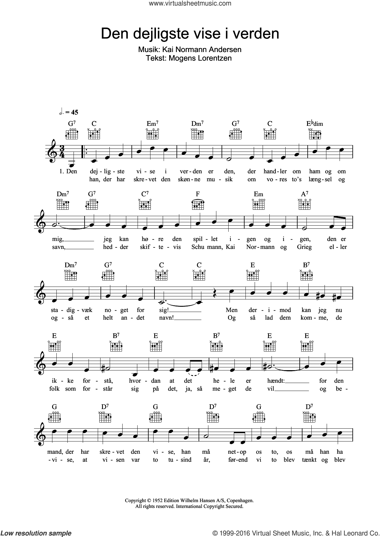 Den Dejligste Vise I Verden sheet music for voice and other instruments (fake book) by Kai Normann Andersen and Mogens Lorentzen, intermediate. Score Image Preview.