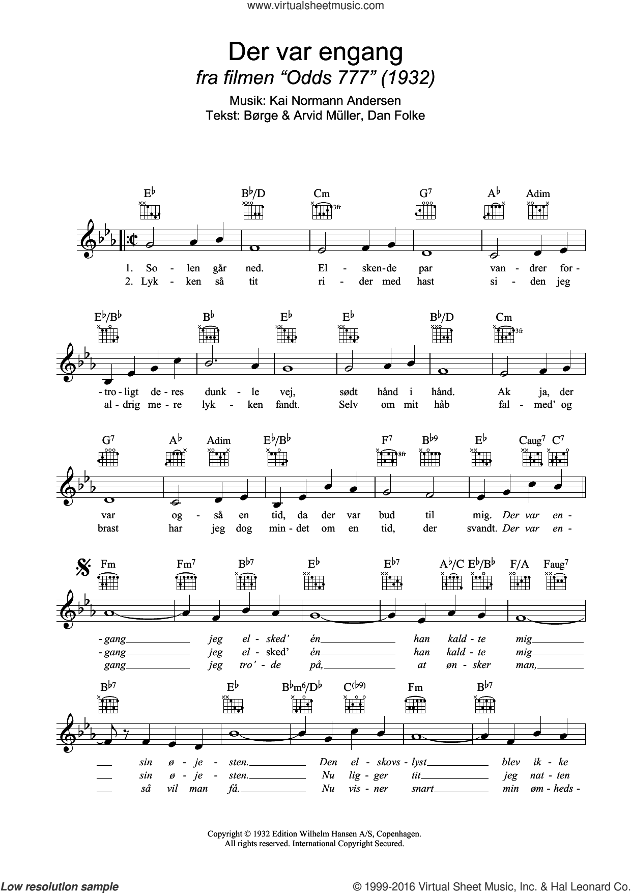 Der Var Engang sheet music for voice and other instruments (fake book) by Dan Folke, Borge Muller and Kai Normann Andersen. Score Image Preview.
