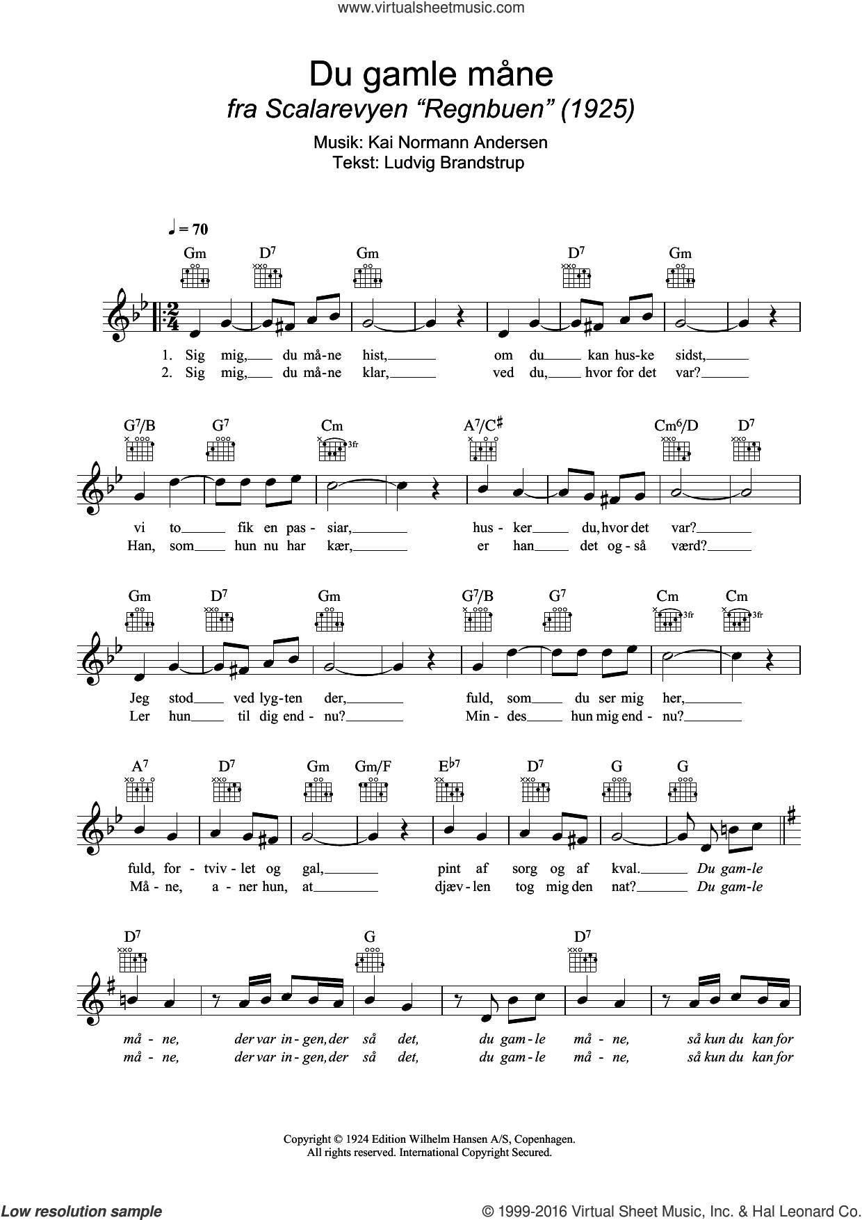 Du Gamle Mane sheet music for voice and other instruments (fake book) by Kai Normann Andersen. Score Image Preview.