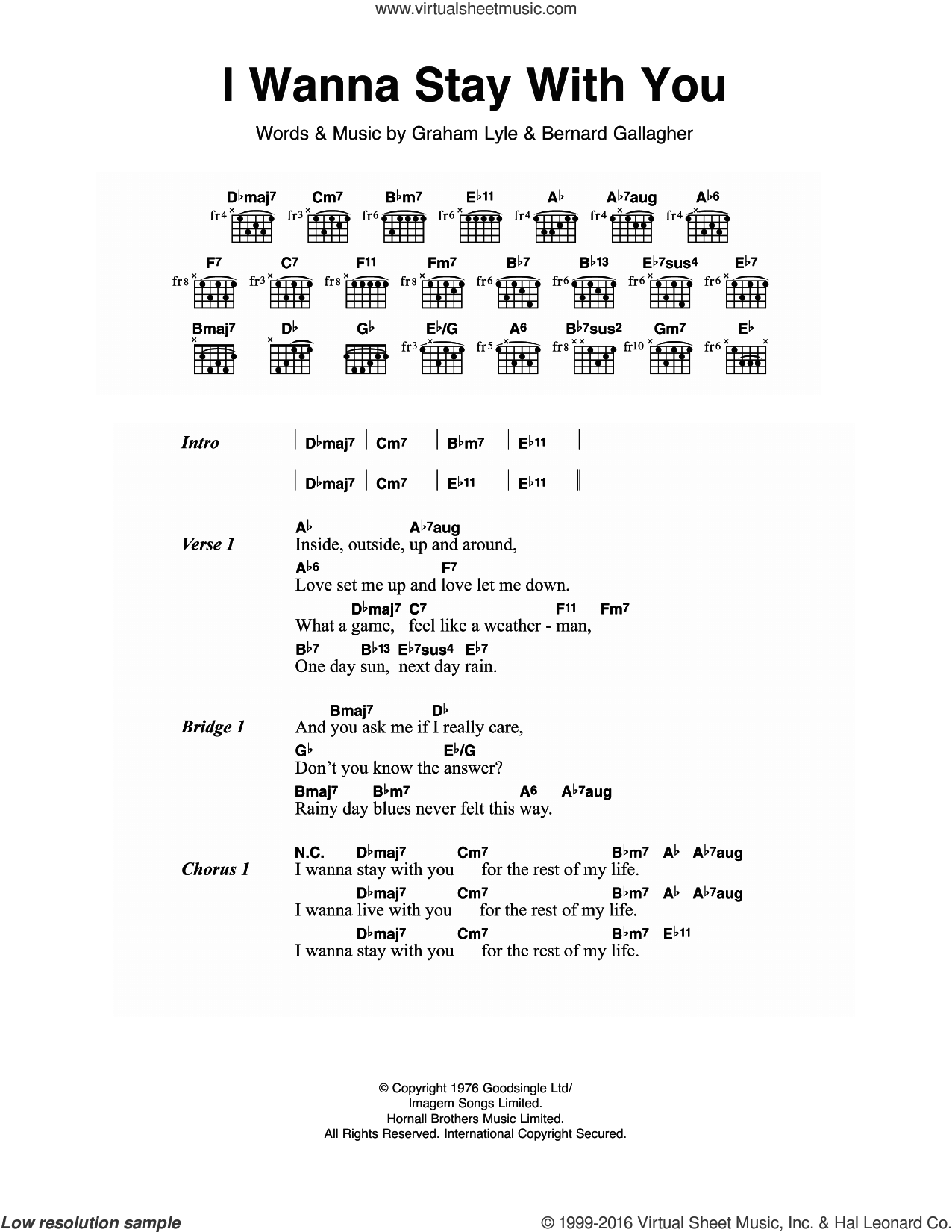 I Wanna Stay With You sheet music for guitar (chords) by Gallagher & Lyle and Graham Lyle, intermediate guitar (chords). Score Image Preview.