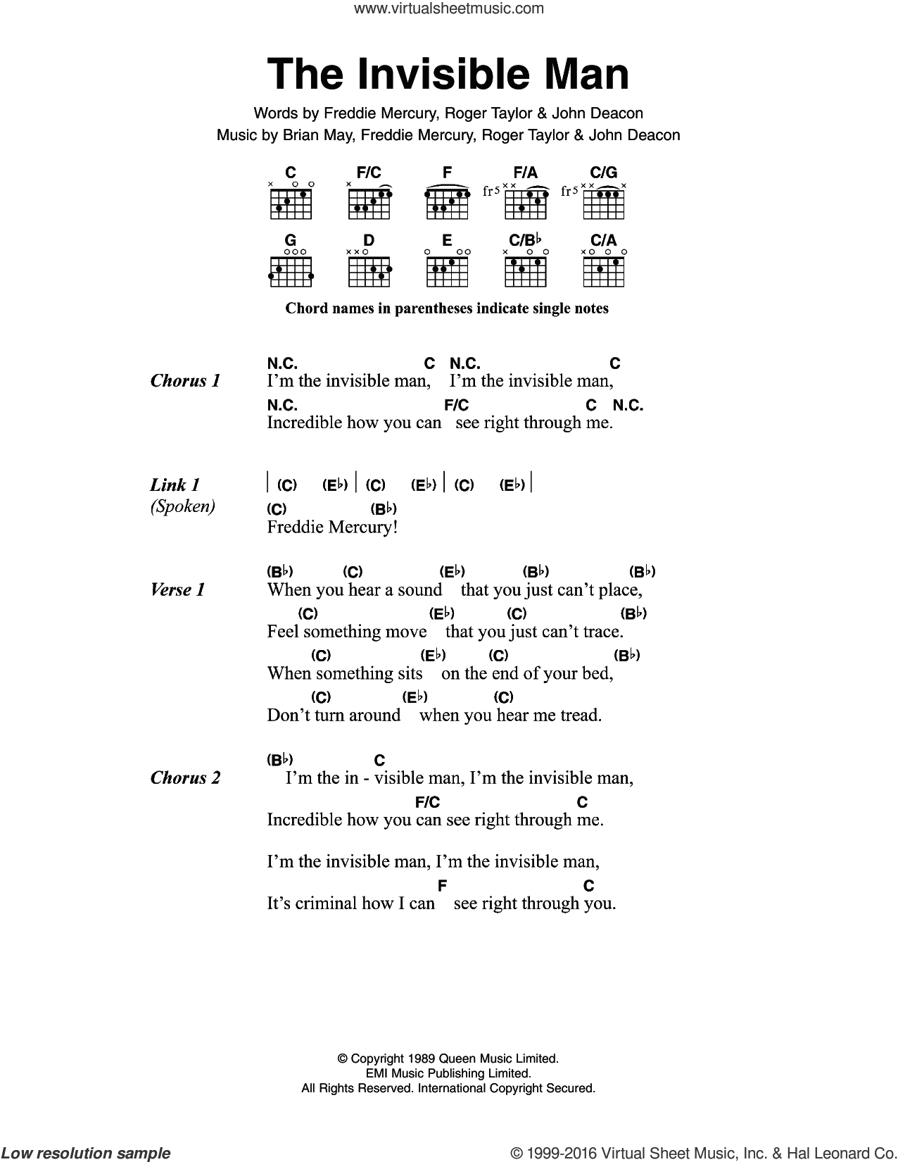The Invisible Man sheet music for guitar (chords) by Roger Taylor, Queen, Brian May, Freddie Mercury and John Deacon. Score Image Preview.