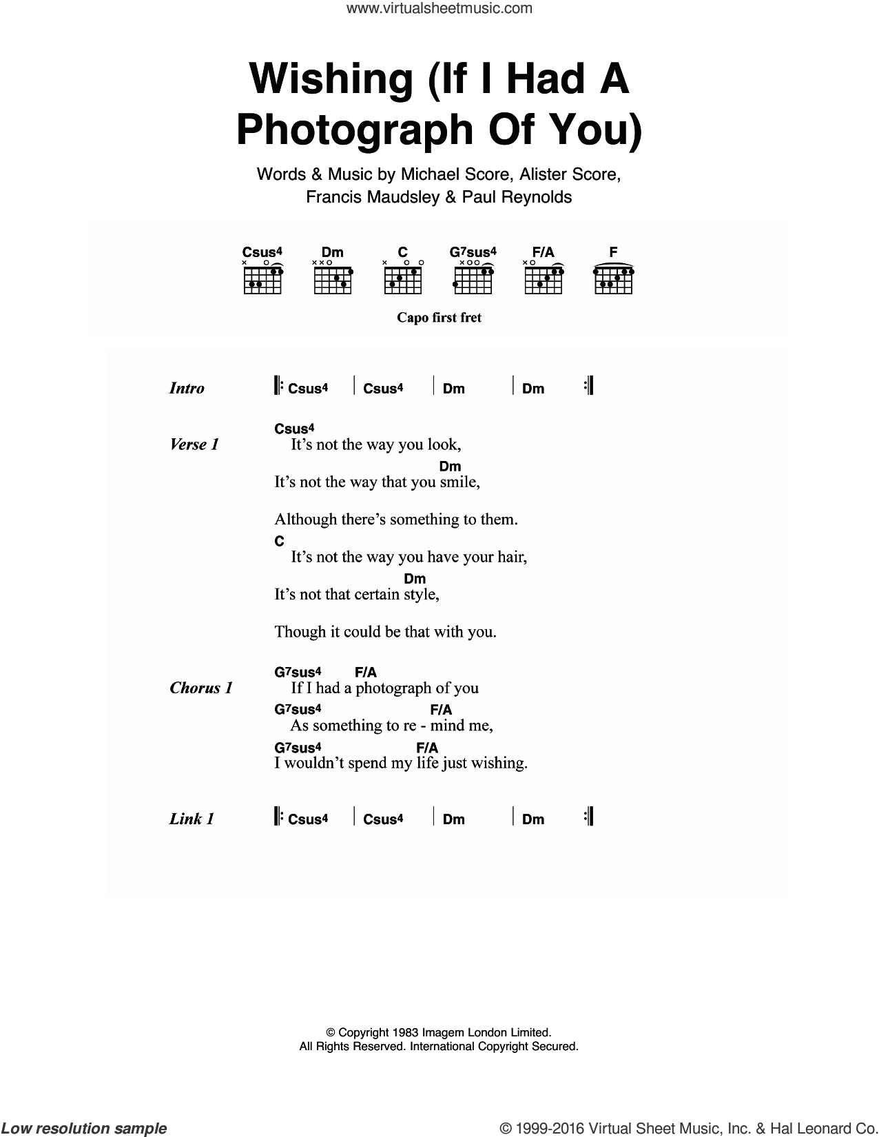Wishing (If I Had A Photograph Of You) sheet music for guitar (chords) by Paul Reynolds. Score Image Preview.