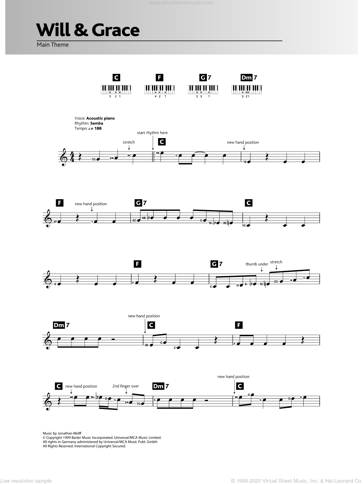 Will And Grace sheet music for piano solo (chords, lyrics, melody) by Jonathan Wolff, intermediate piano (chords, lyrics, melody)
