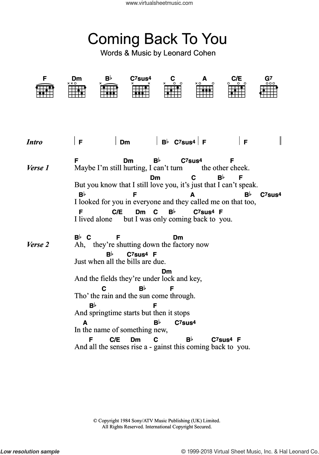 Coming Back To You sheet music for guitar (chords) by Leonard Cohen, intermediate. Score Image Preview.