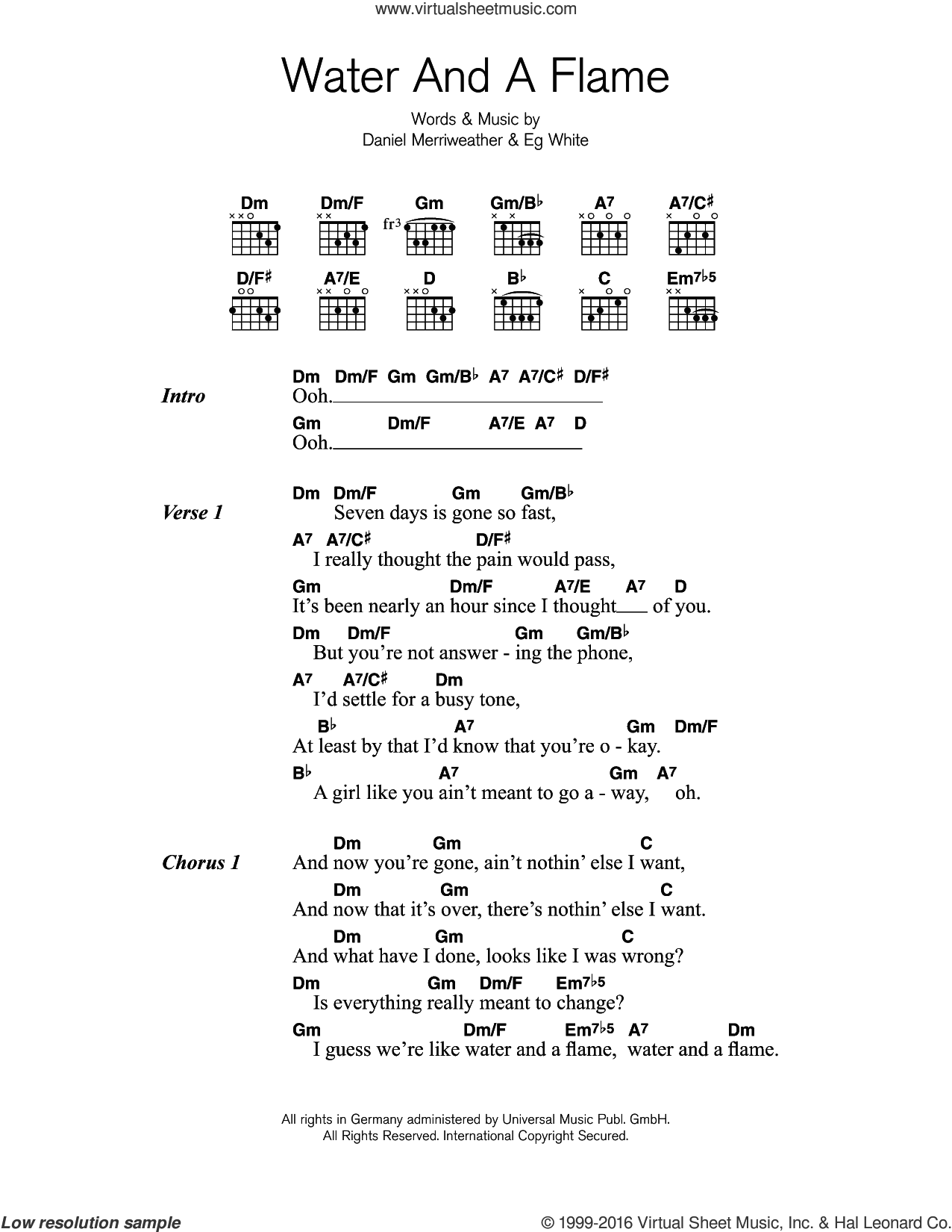 Water And A Flame (featuring Adele) sheet music for guitar (chords) by Eg White
