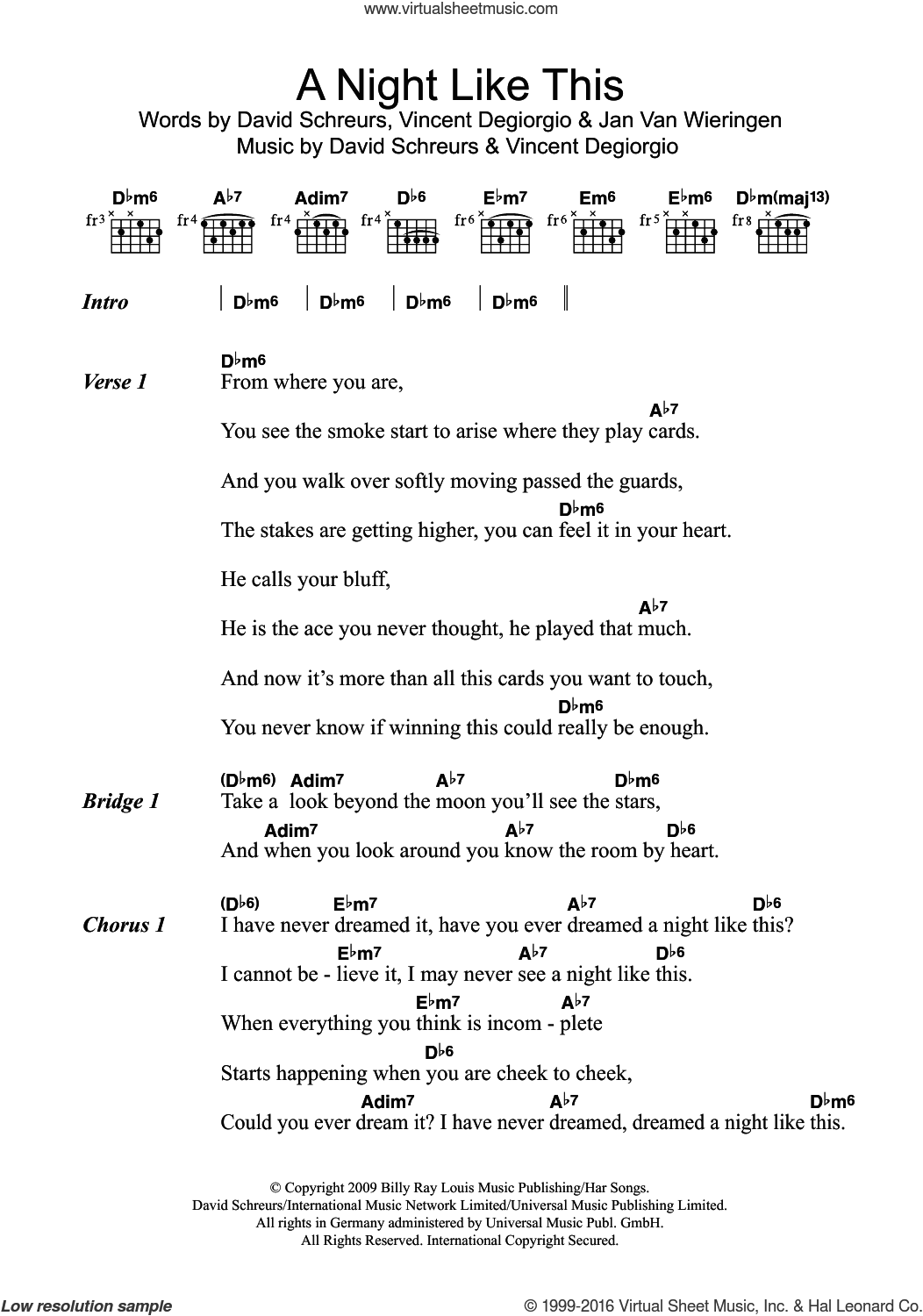 Emerald A Night Like This Sheet Music For Guitar Chords Pdf