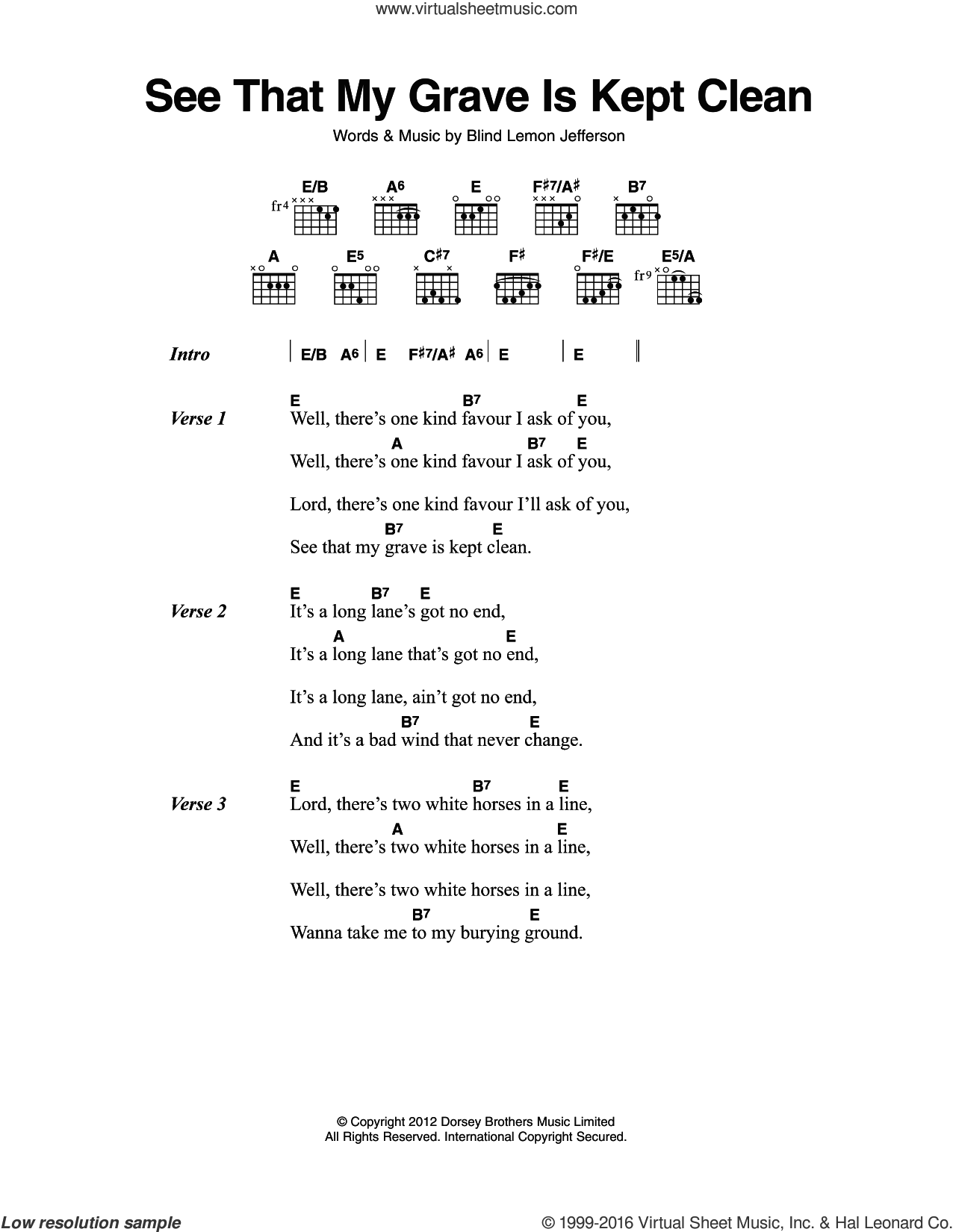 See That My Grave Is Kept Clean sheet music for guitar (chords) by Blind Lemon Jefferson. Score Image Preview.