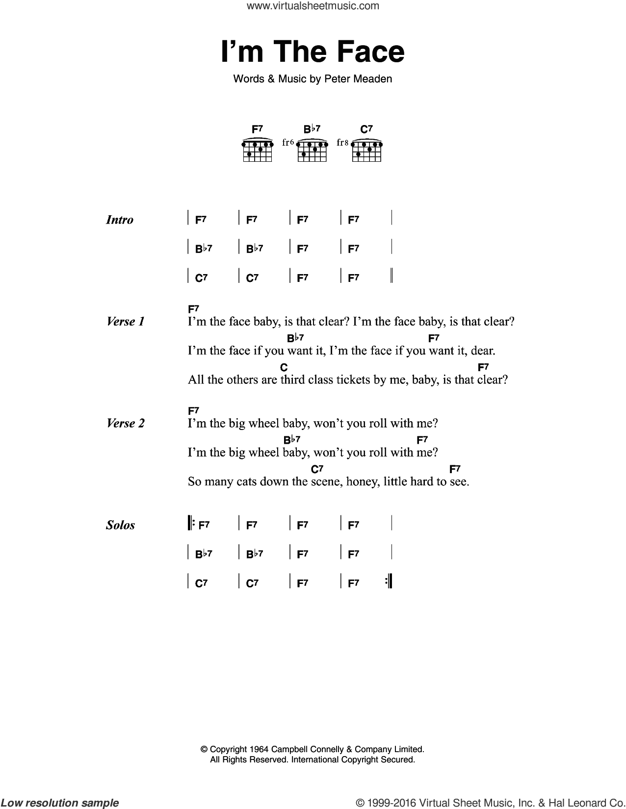 I'm The Face sheet music for guitar (chords) by The Who, intermediate guitar (chords). Score Image Preview.