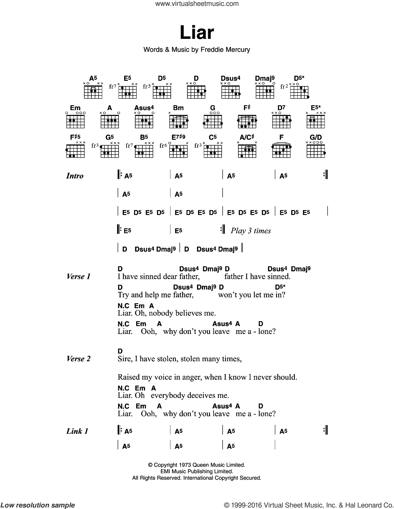 Queen Liar Sheet Music For Guitar Chords Pdf