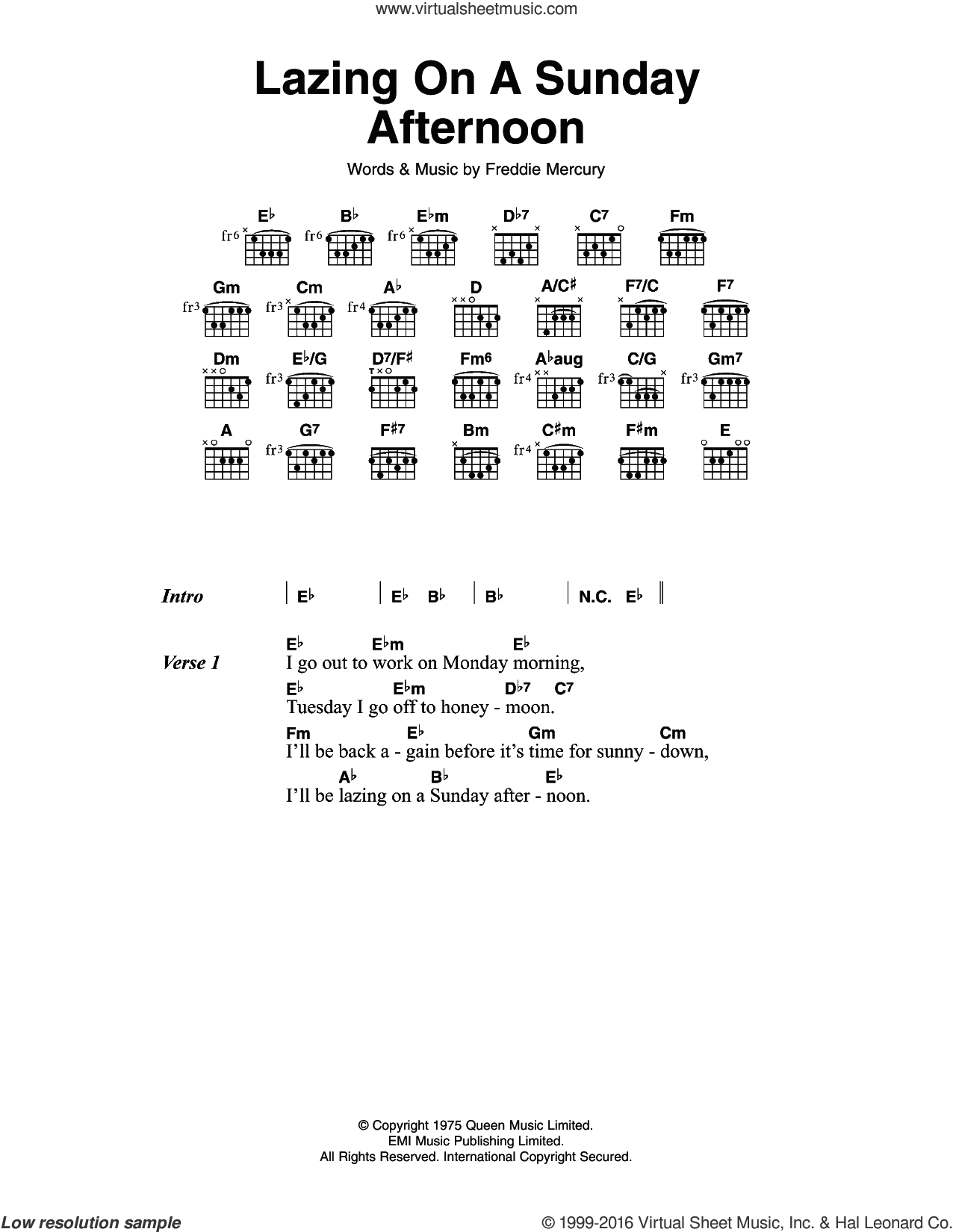 Lazing On A Sunday Afternoon sheet music for guitar (chords) by Frederick Mercury and Queen. Score Image Preview.