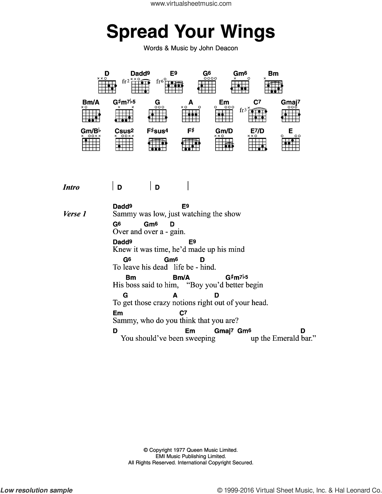Spread Your Wings sheet music for guitar (chords) by John Deacon and Queen. Score Image Preview.