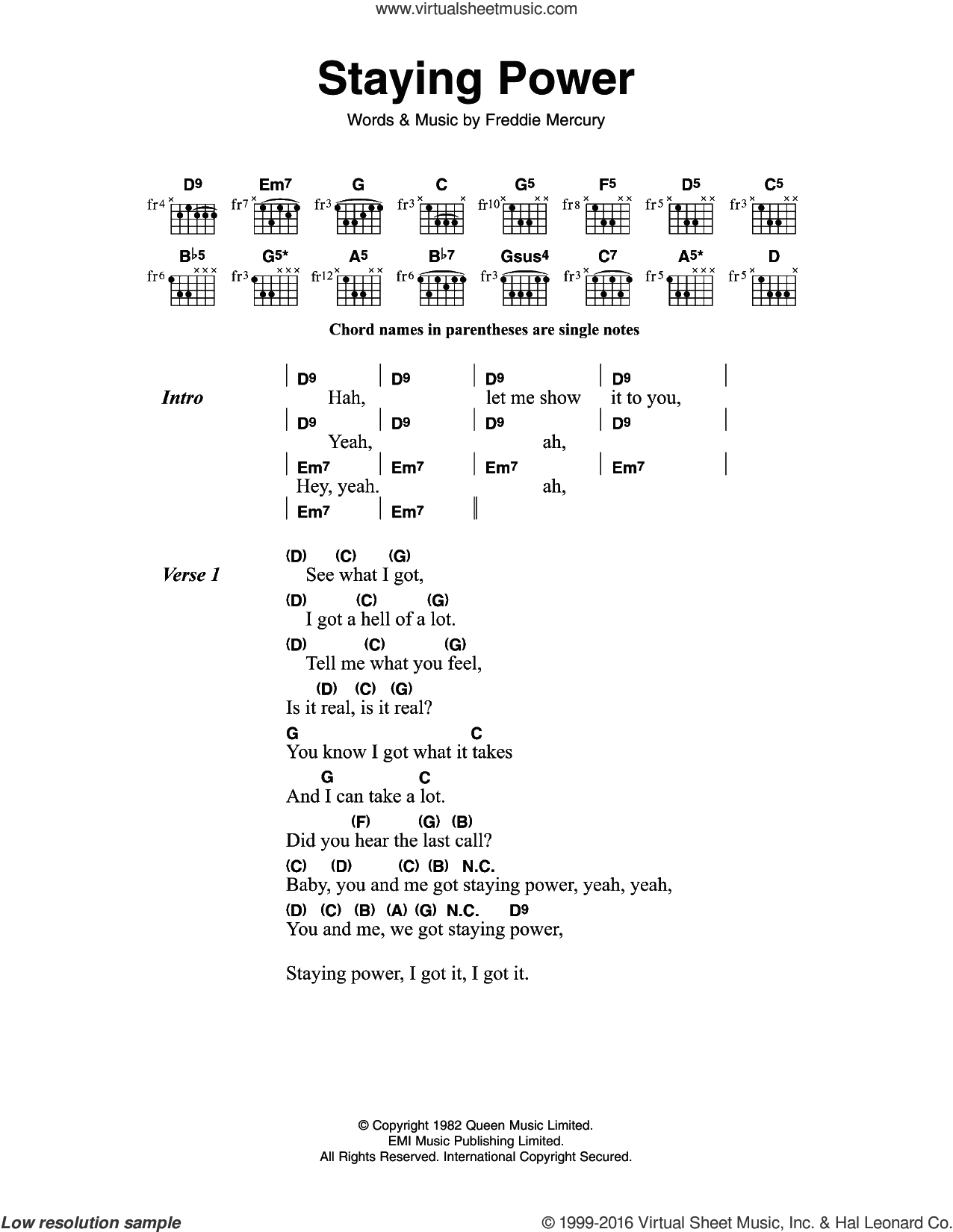 Queen Staying Power Sheet Music For Guitar Chords Pdf
