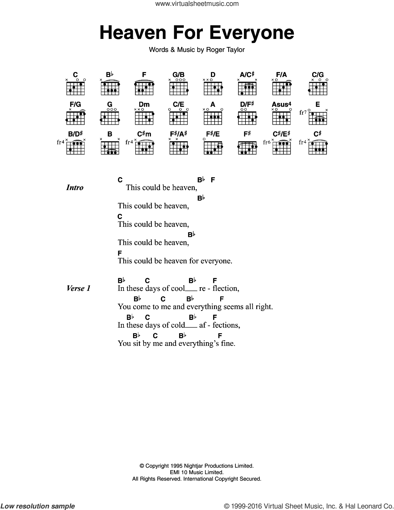 Heaven For Everyone sheet music for guitar (chords) by Queen and Roger Meddows Taylor, intermediate skill level