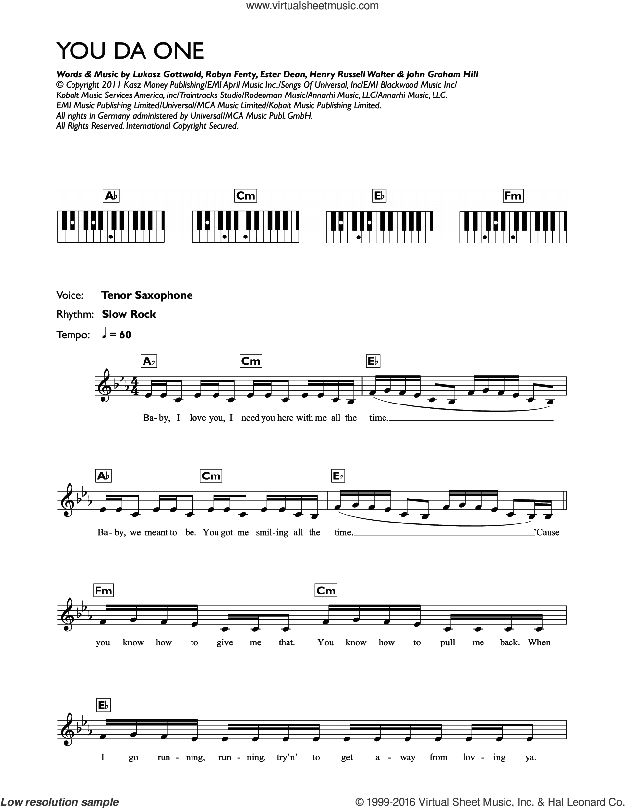 You Da One sheet music for piano solo (chords, lyrics, melody) by Robyn Fenty, Rihanna, Ester Dean, Henry Russell Walter and Lukasz Gottwald. Score Image Preview.