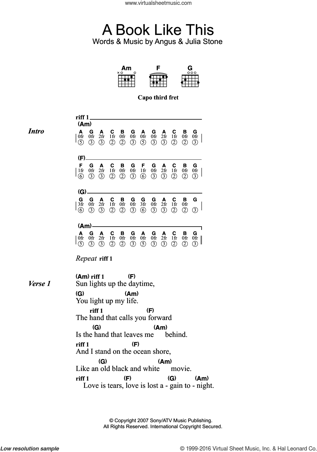 A Book Like This sheet music for guitar (chords) by Julia Stone and Angus Stone, intermediate skill level