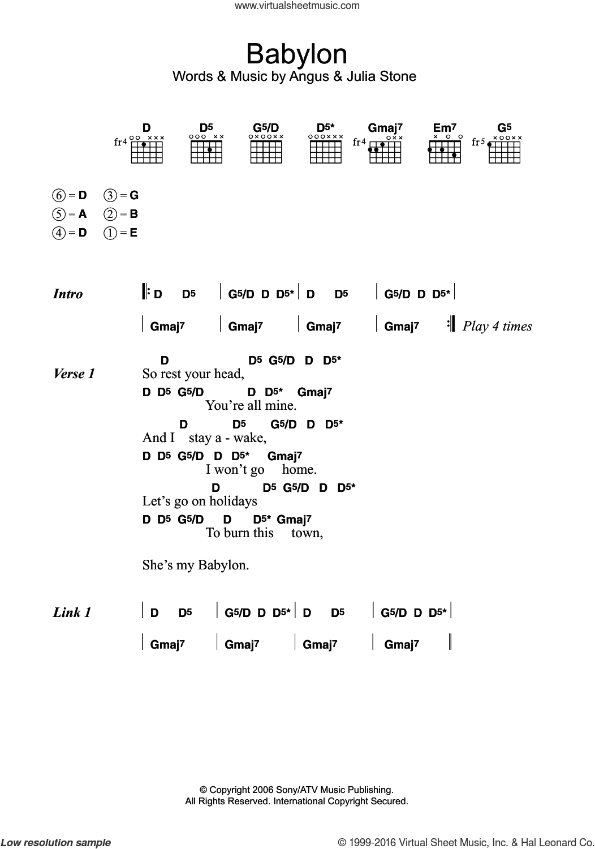 Stone Babylon Sheet Music For Guitar Chords Pdf