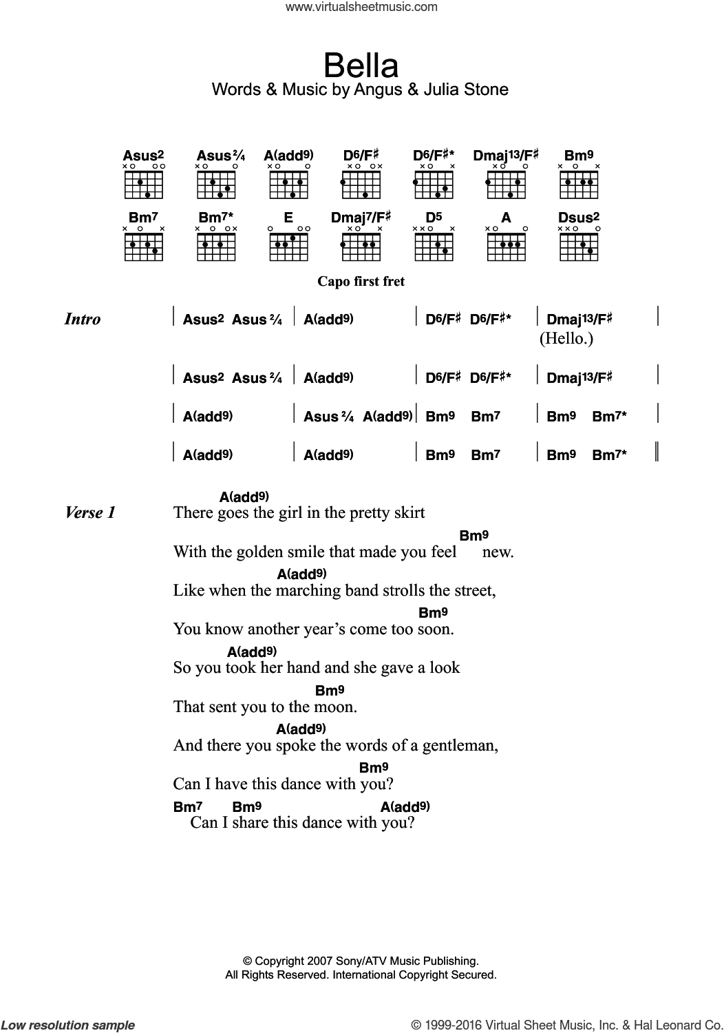 Bella sheet music for guitar (chords) by Angus Stone and Julia Stone. Score Image Preview.