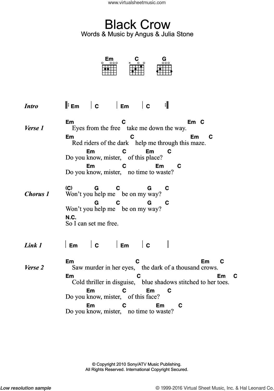Black Crow sheet music for guitar (chords) by Julia Stone and Angus Stone, intermediate skill level