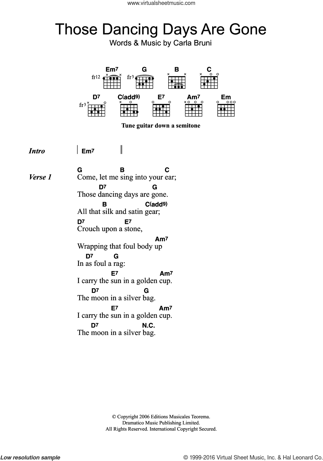 Those Dancing Days Are Gone sheet music for guitar (chords) by Carla Bruni, intermediate skill level
