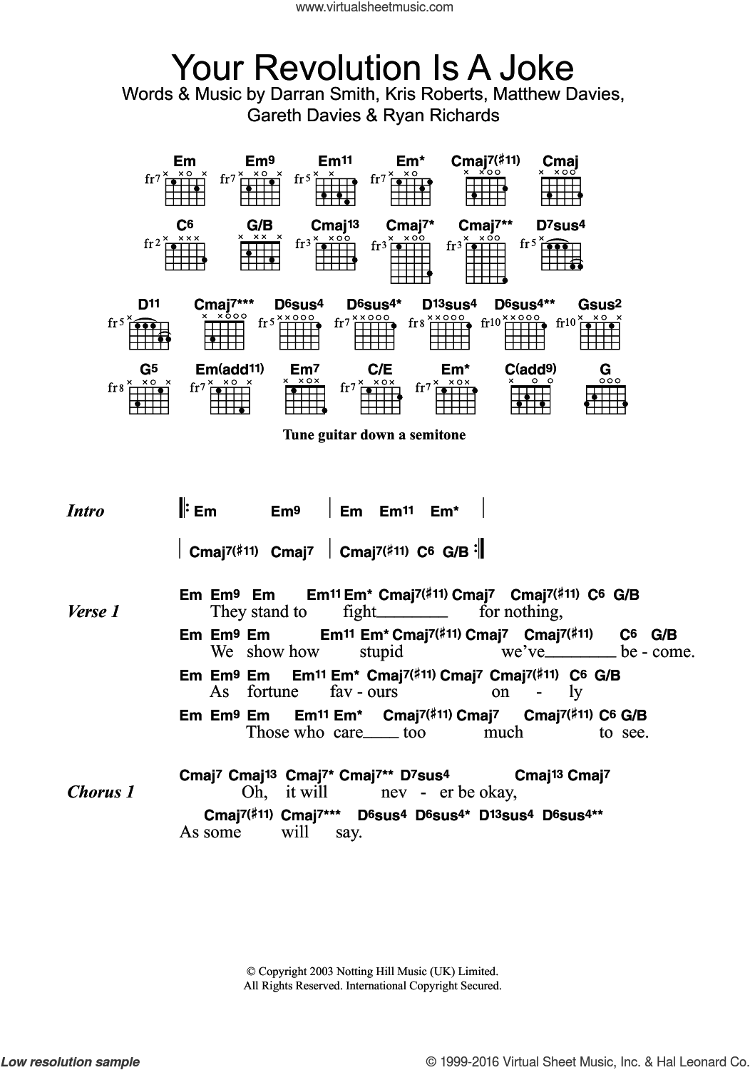 Friend - Your Revolution Is A Joke sheet music for guitar (chords)
