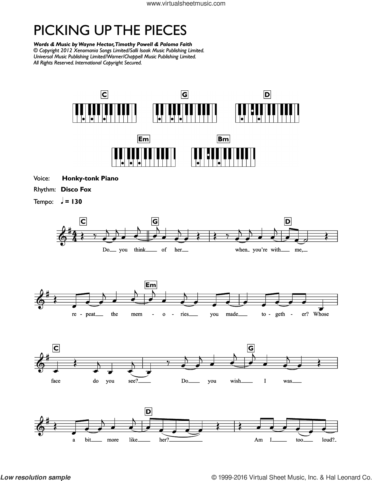 Picking Up The Pieces sheet music for piano solo (chords, lyrics, melody) by Paloma Faith, Timothy Powell and Wayne Hector, intermediate piano (chords, lyrics, melody)