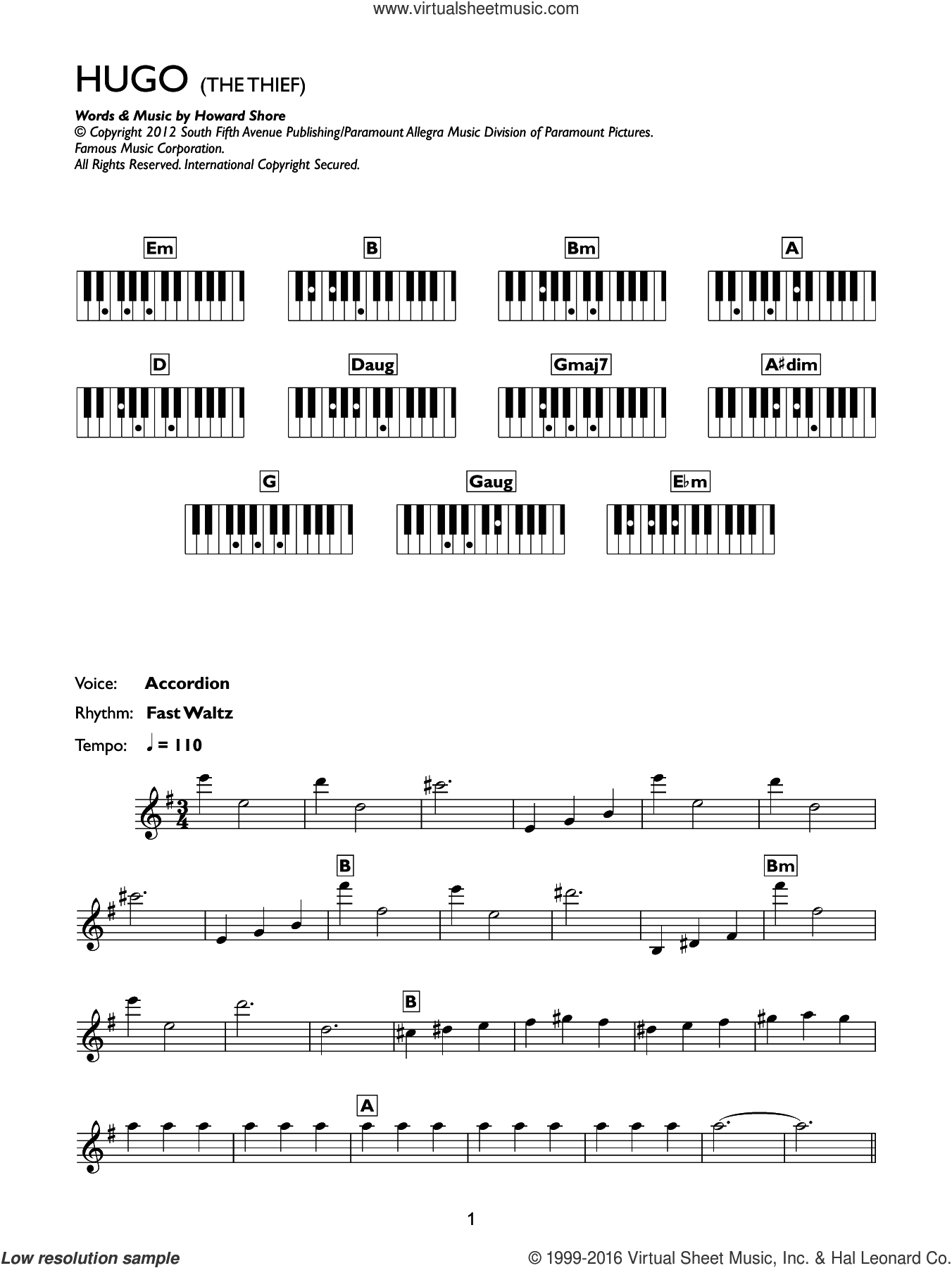 The Thief (from Hugo) sheet music for piano solo (chords, lyrics, melody) by Howard Shore. Score Image Preview.