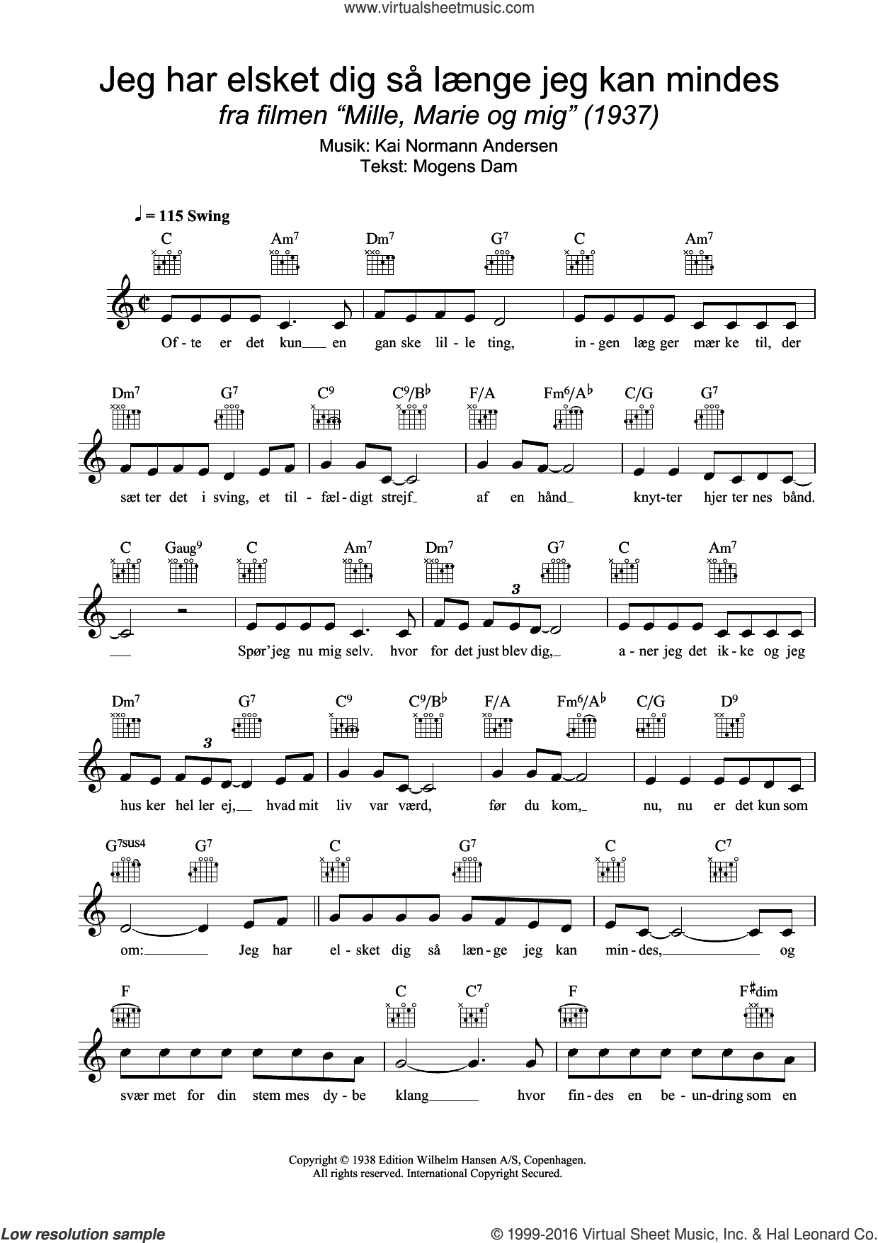 Jeg Har Elsket Dig Sa Laenge Jeg Kan Mindes sheet music for voice and other instruments (fake book) by Kai Normann Andersen. Score Image Preview.