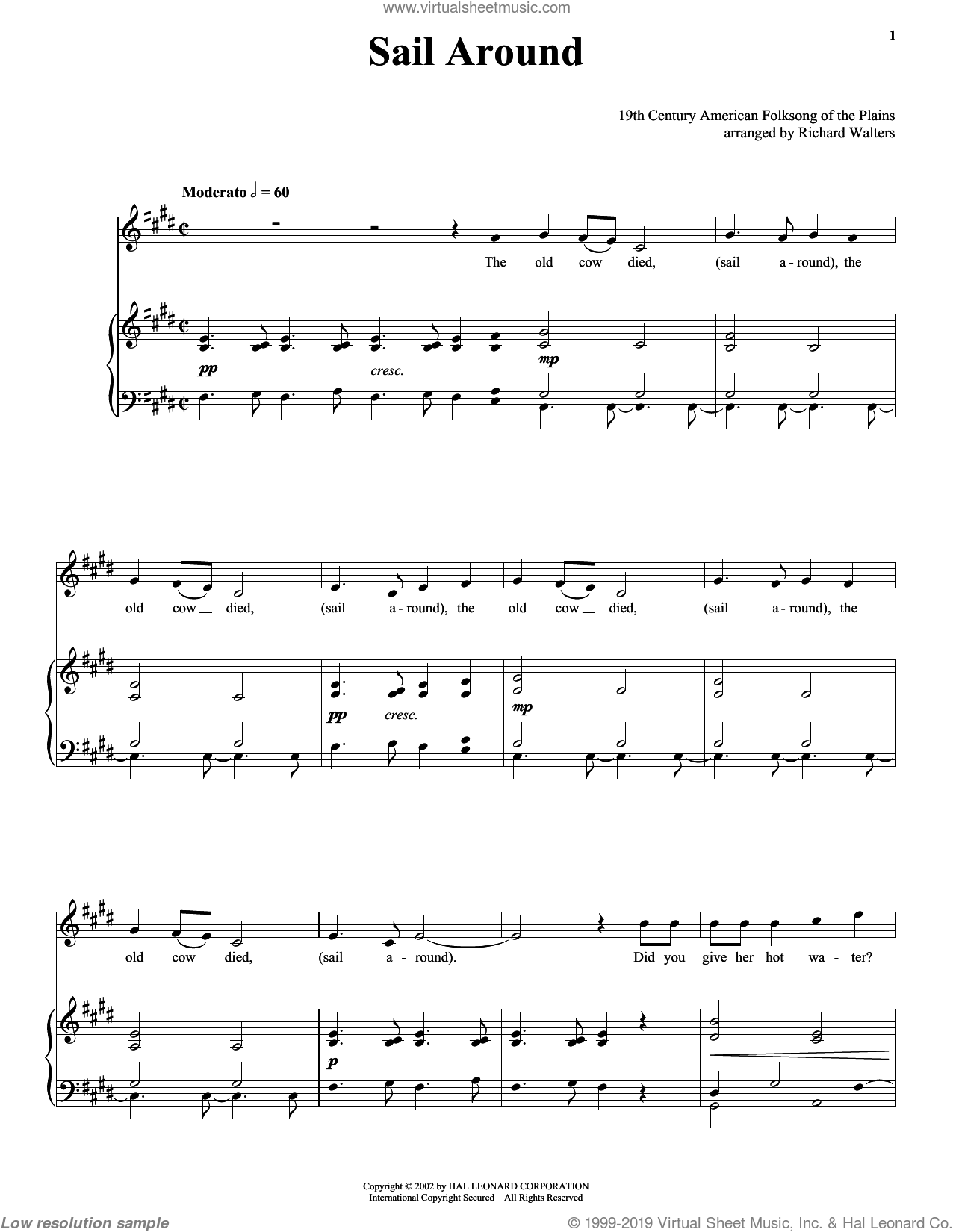 Sail Around sheet music for voice and piano. Score Image Preview.