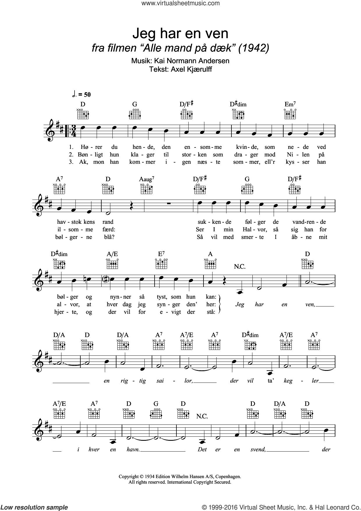 Jeg Har En Ven sheet music for voice and other instruments (fake book) by Axel Kjærulff and Kai Normann Andersen. Score Image Preview.