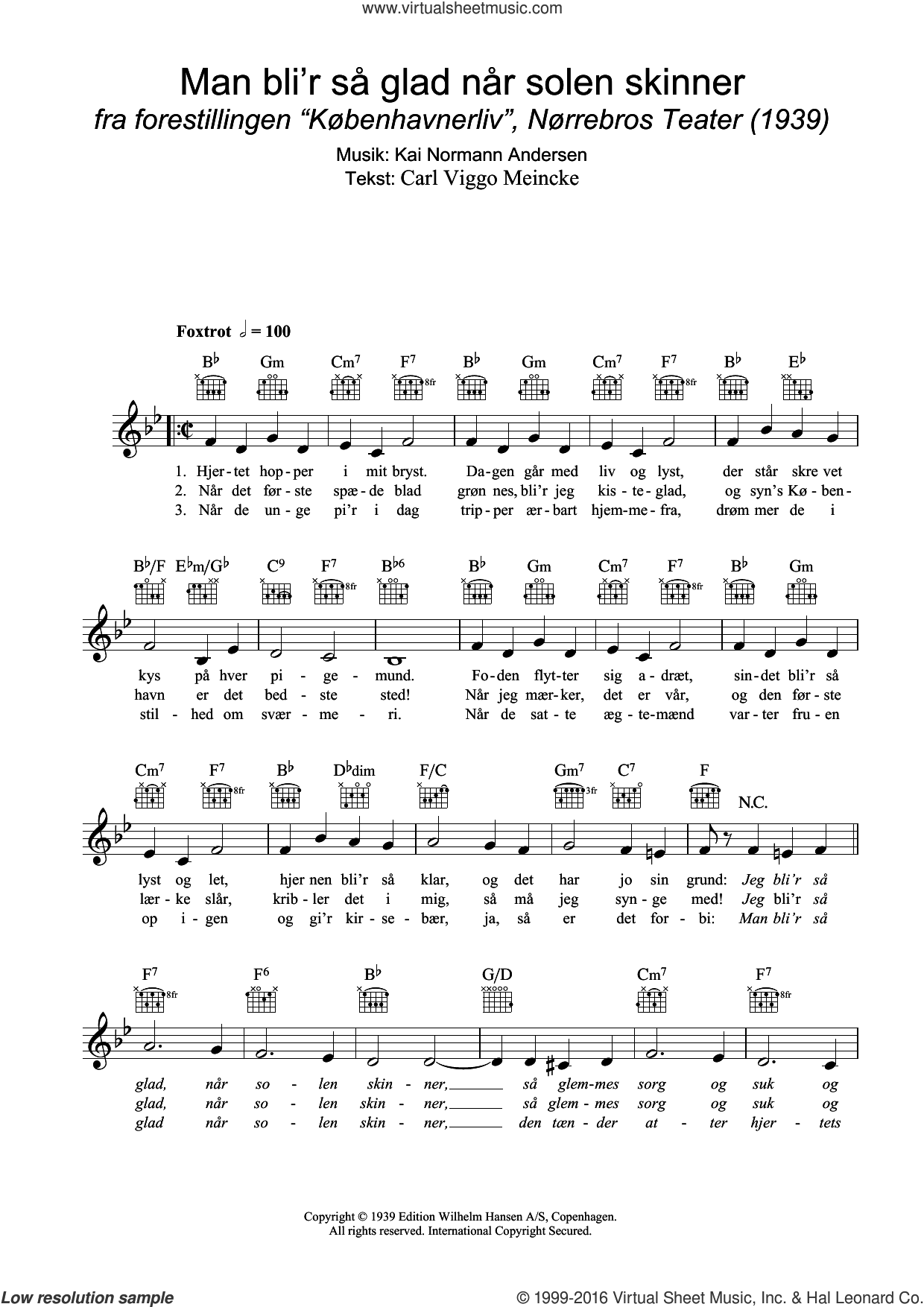 Man Bli'r Sa Glad Nar Solen Skinner sheet music for voice and other instruments (fake book) by Kai Normann Andersen and Carl Viggo Meincke, intermediate skill level