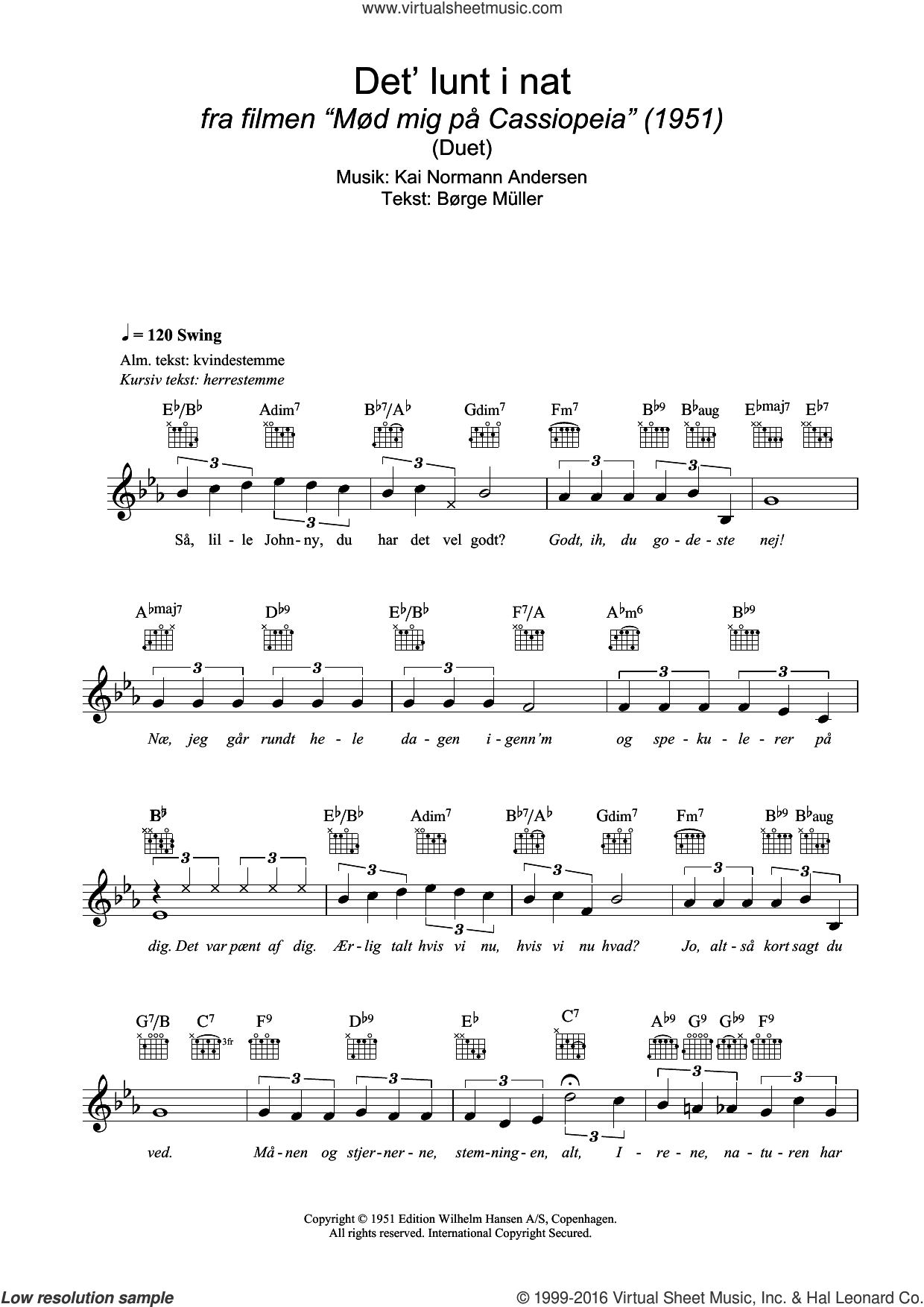 Det' Lunt I Nat sheet music for voice and other instruments (fake book) by Børge Müller and Kai Normann Andersen. Score Image Preview.