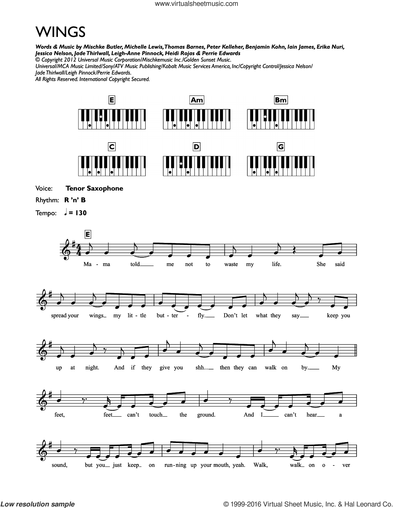 Wings sheet music for piano solo (chords, lyrics, melody) by Thomas Barnes, Little Mix, Benjamin Kohn, Iain James, Jade Thirlwall, Michelle Lewis, Perrie Edwards and Peter Kelleher. Score Image Preview.