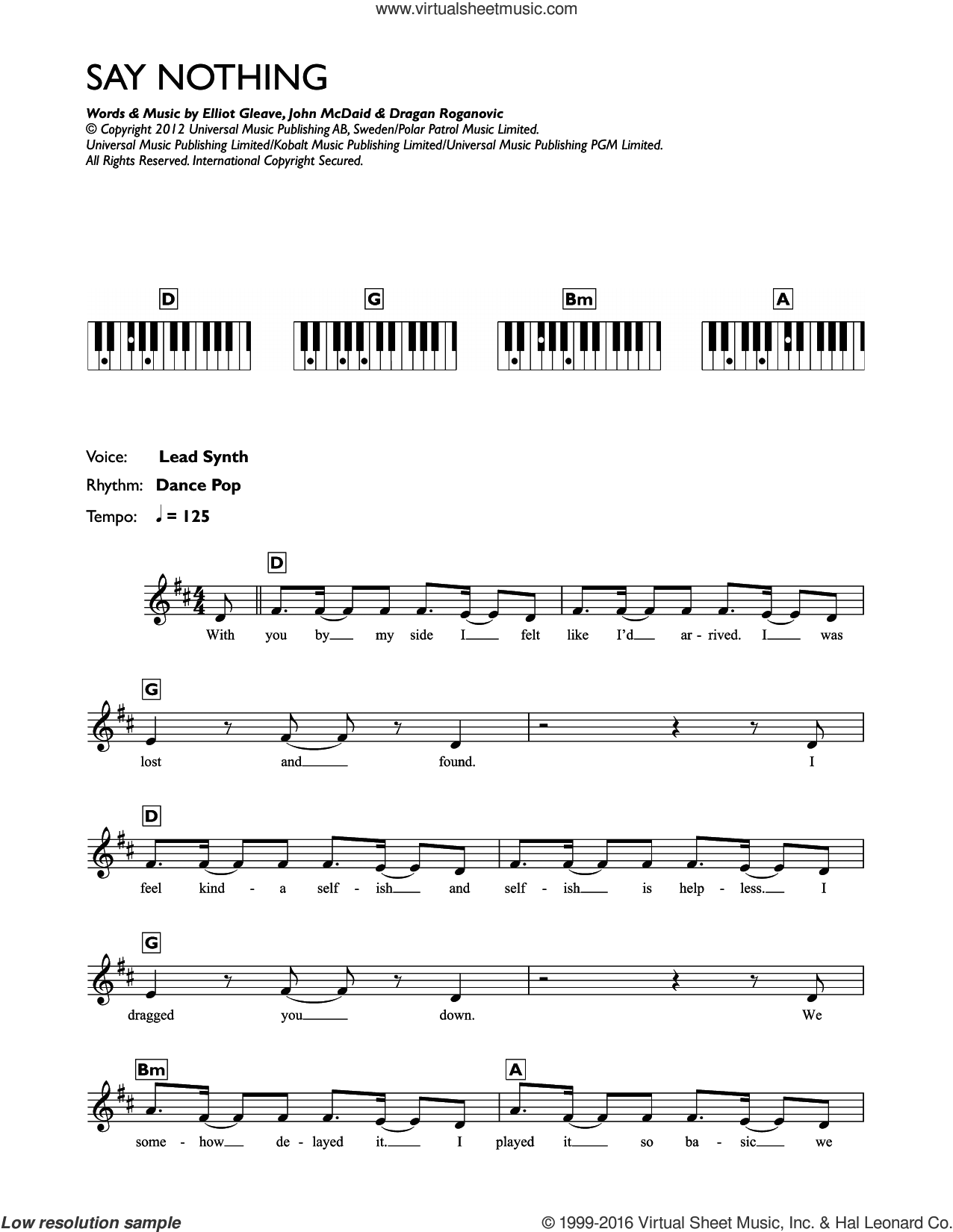 Say Nothing sheet music for piano solo (chords, lyrics, melody) by Example, Dragan Roganovic, Elliot Gleave and John McDaid, intermediate piano (chords, lyrics, melody)