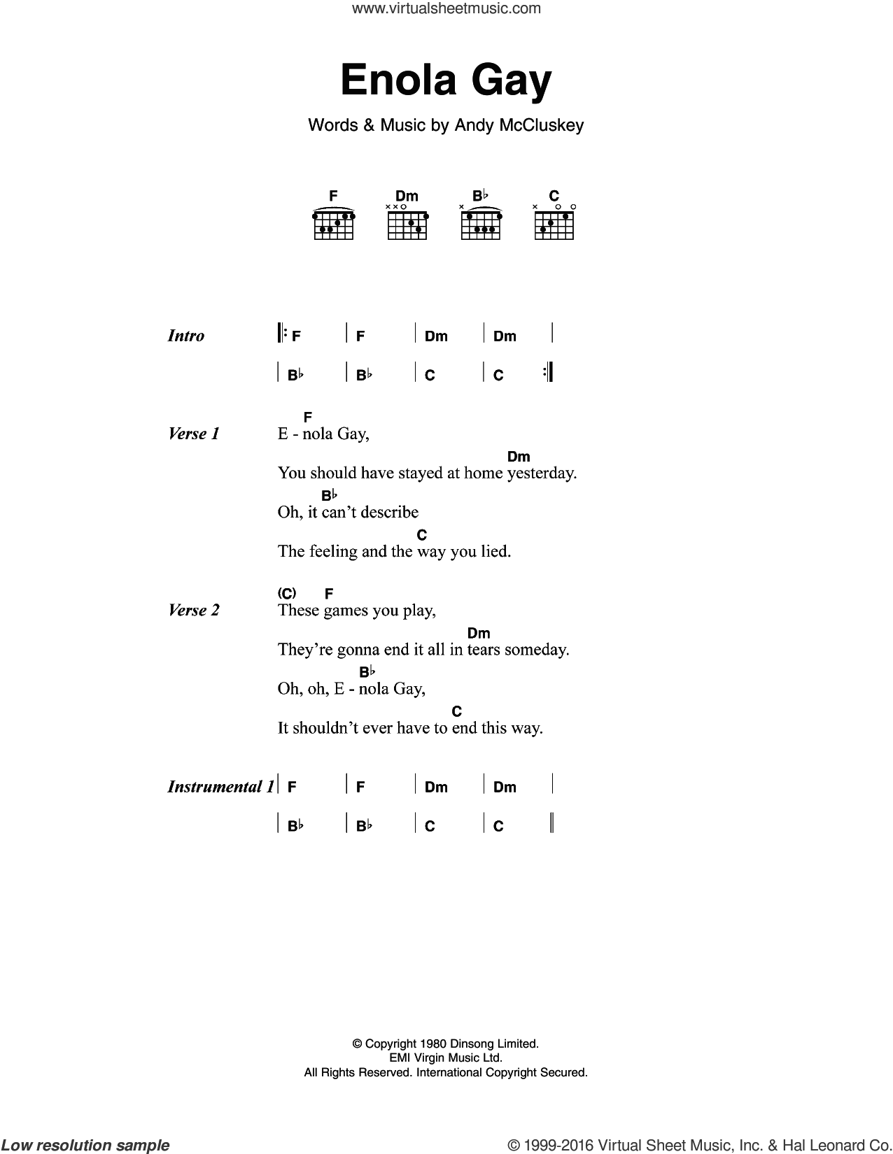 Dark Enola Gay Sheet Music For Guitar Chords Pdf