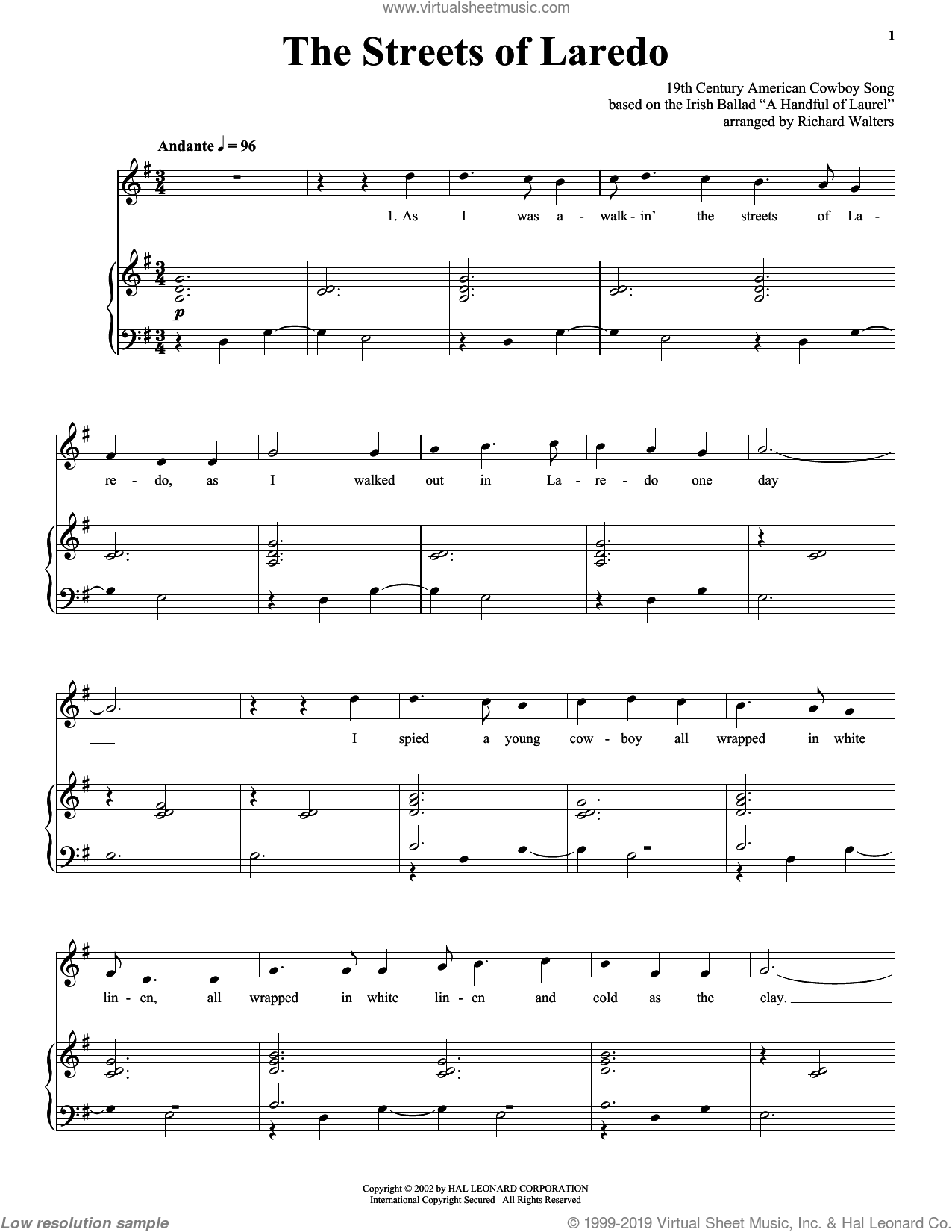 The Streets Of Laredo sheet music for voice and piano  and Johnny Cash, intermediate skill level