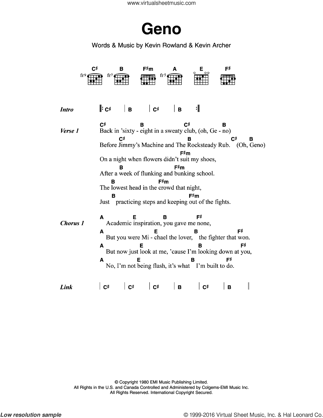 Geno sheet music for guitar (chords) by Dexy's Midnight Runners, Kevin Archer and Kevin Rowland, intermediate skill level