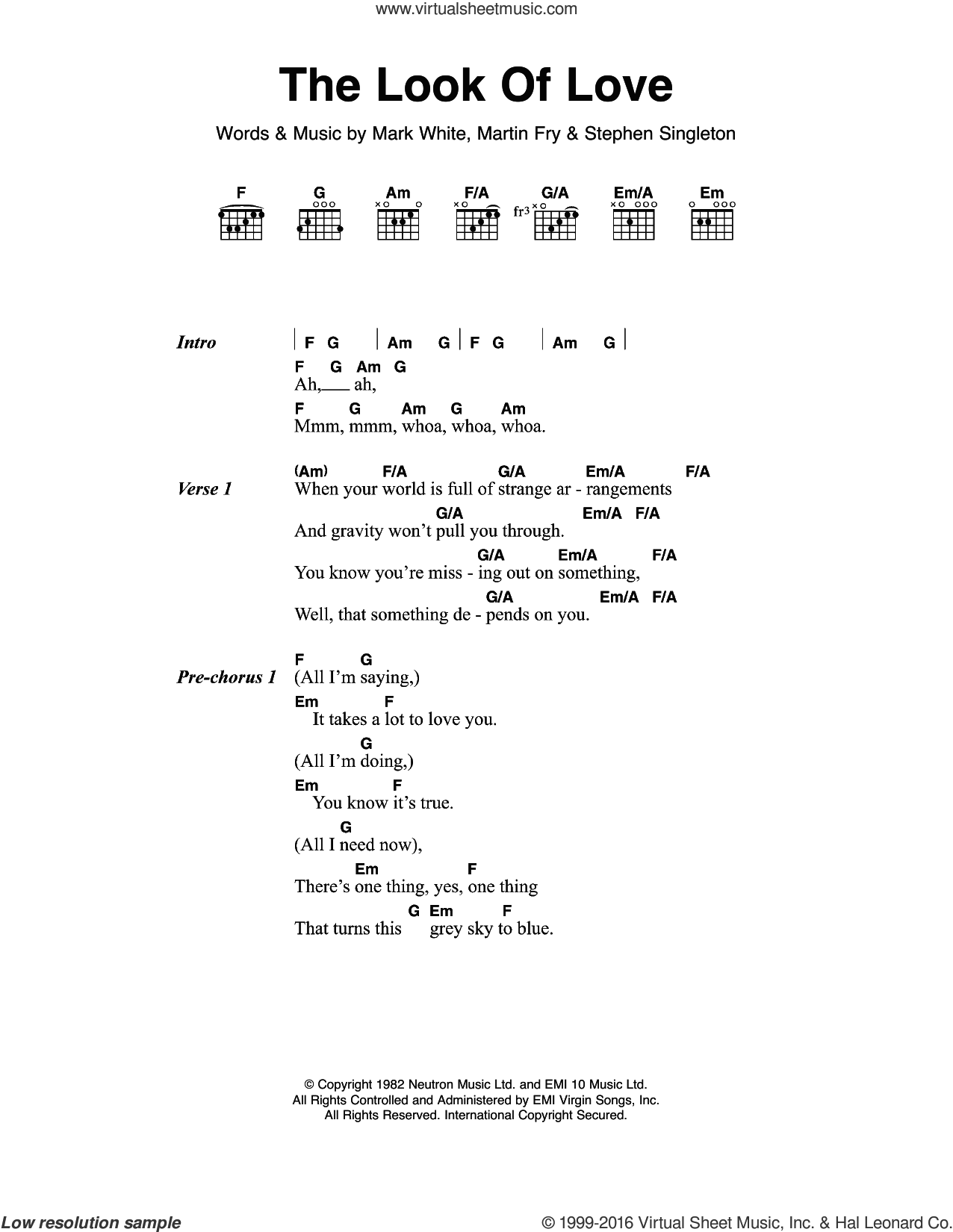 The Look Of Love sheet music for guitar (chords) by Stephen Singleton