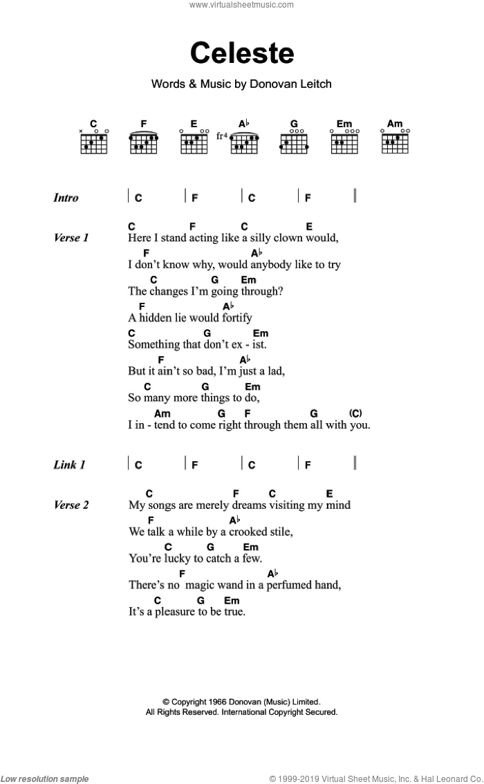 Celeste sheet music for guitar (chords) by Walter Donovan and Donovan Leitch, intermediate skill level