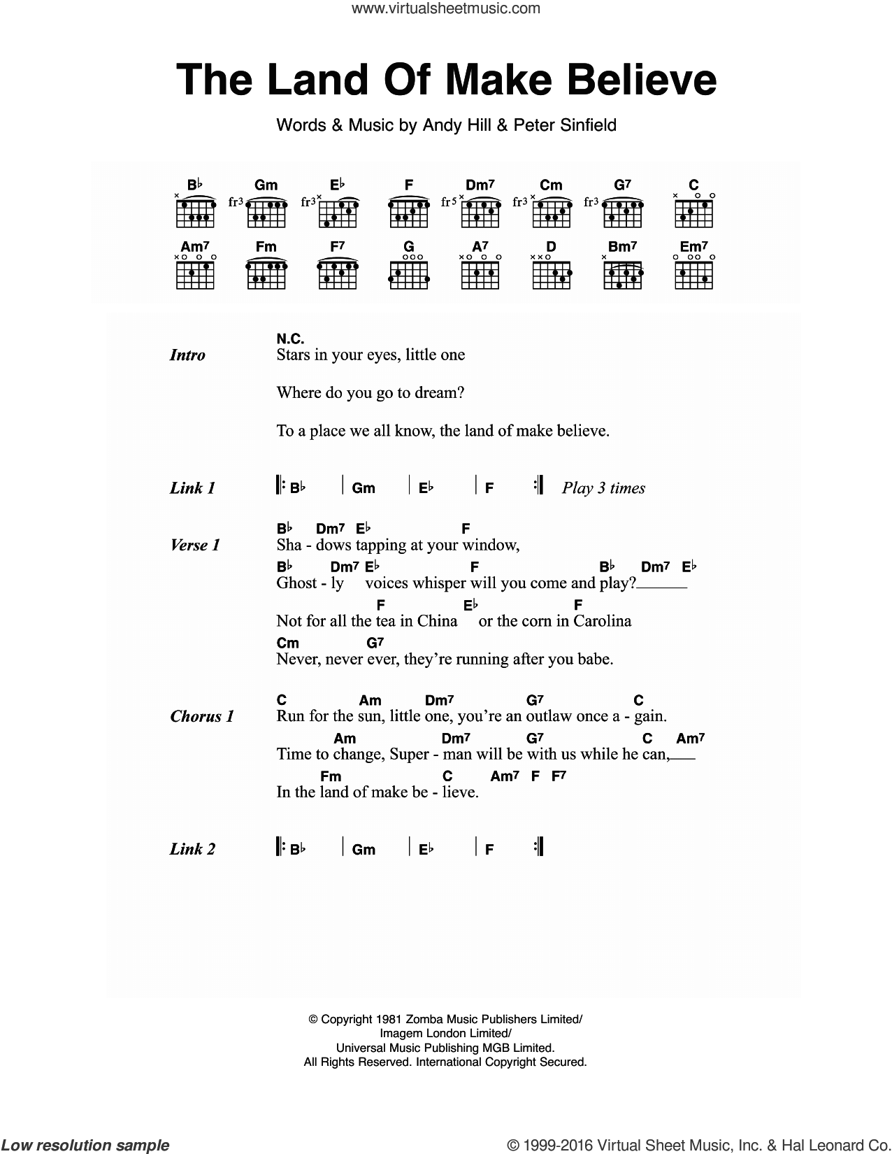 The Land Of Make Believe sheet music for guitar (chords) by Bucks Fizz. Score Image Preview.