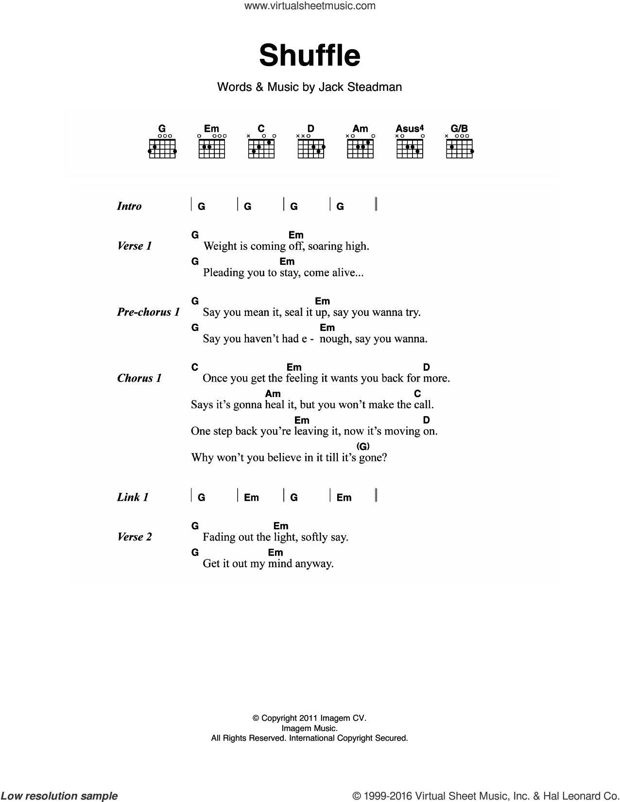 Shuffle sheet music for guitar (chords) by Bombay Bicycle Club, intermediate. Score Image Preview.