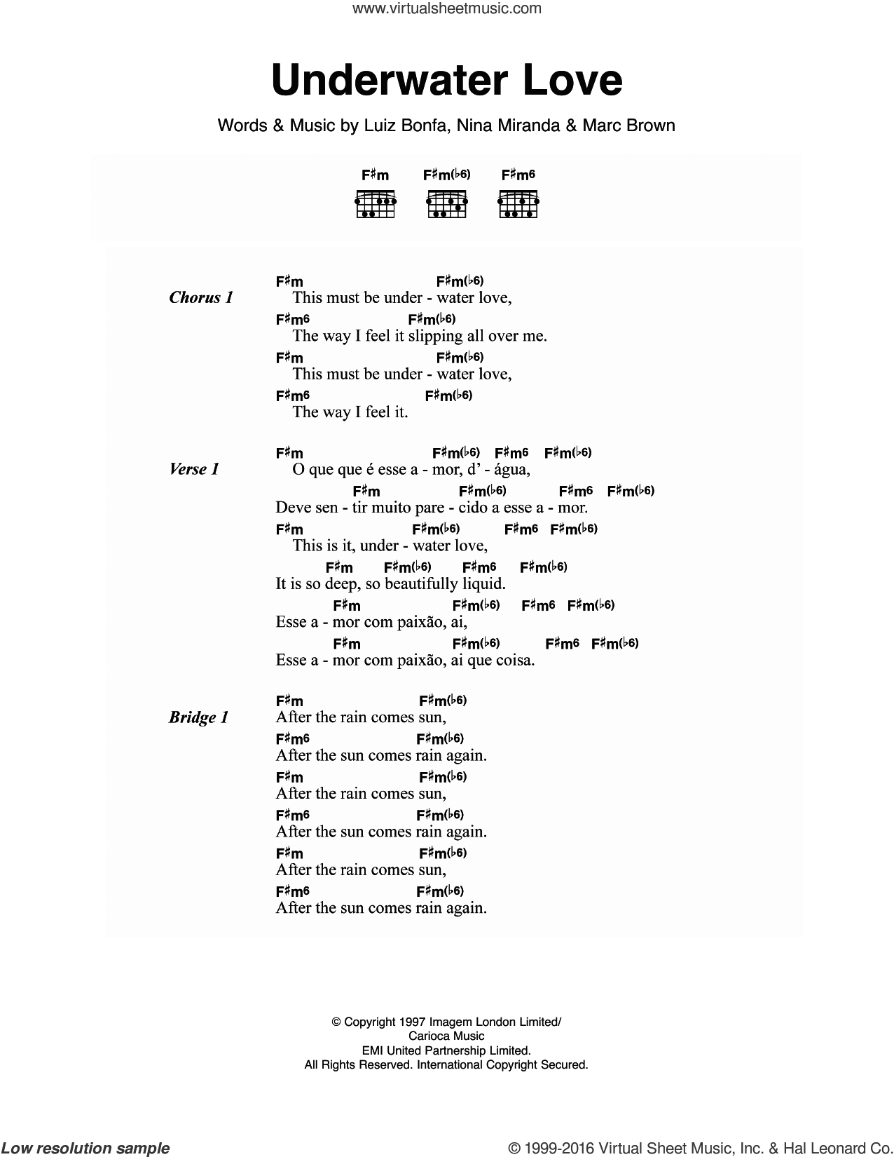 Underwater Love sheet music for guitar (chords) by Nina Miranda and Luiz Bonfa. Score Image Preview.