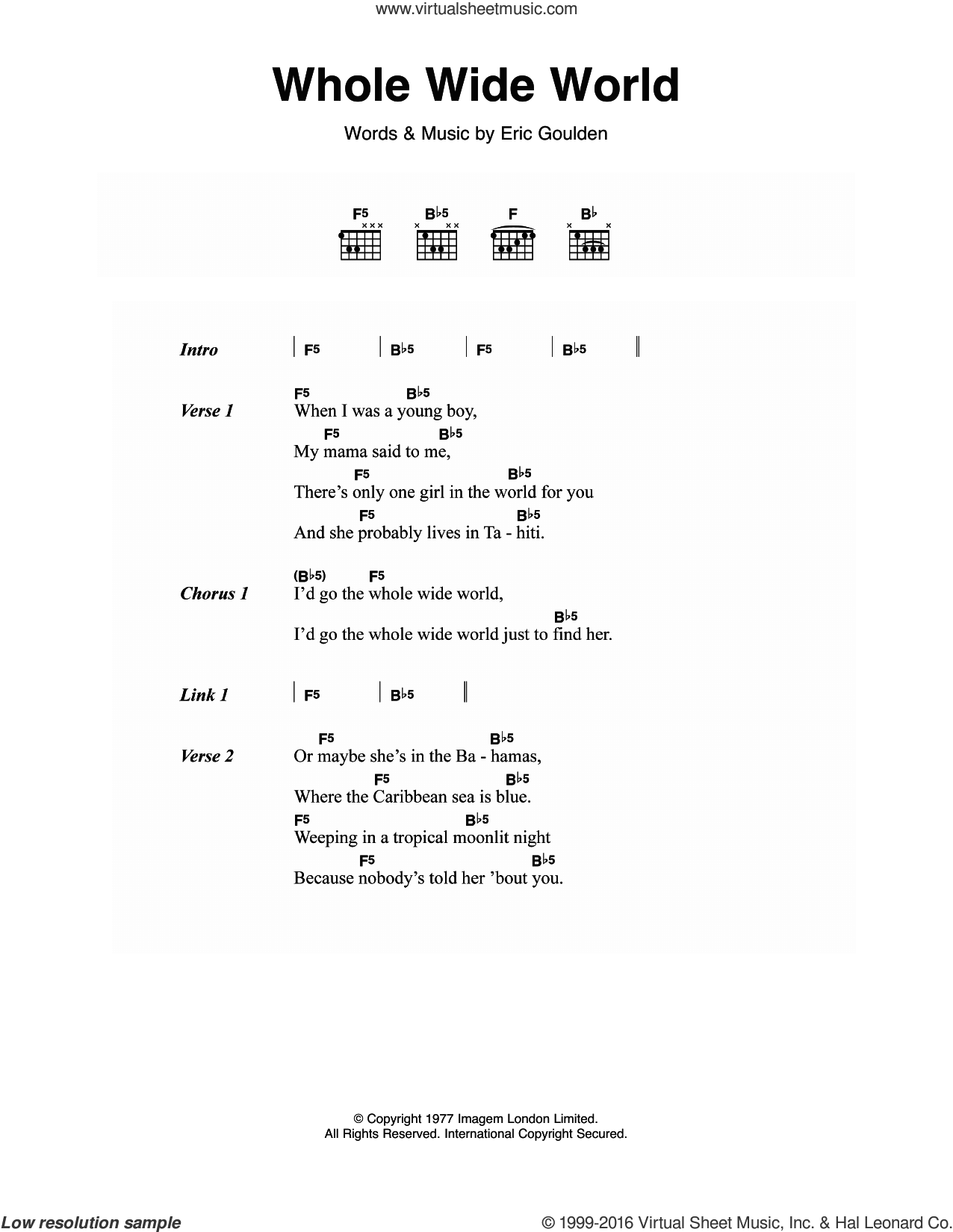 Whole Wide World sheet music for guitar (chords) by Eric Goulden