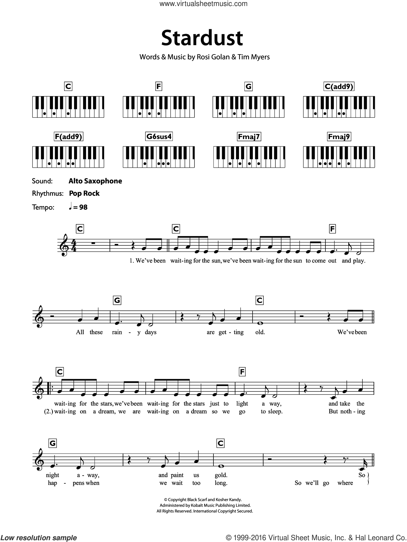 Stardust sheet music for piano solo (chords, lyrics, melody) by Lena, Rosi Golan and Tim Myers, intermediate piano (chords, lyrics, melody). Score Image Preview.