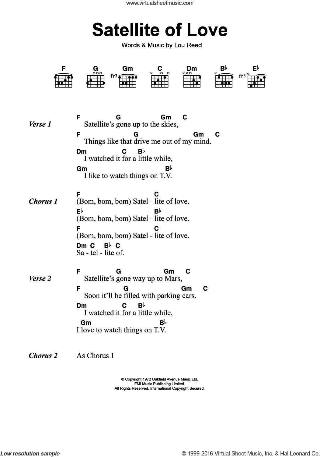 Satellite Of Love sheet music for guitar (chords) by Lou Reed, intermediate skill level