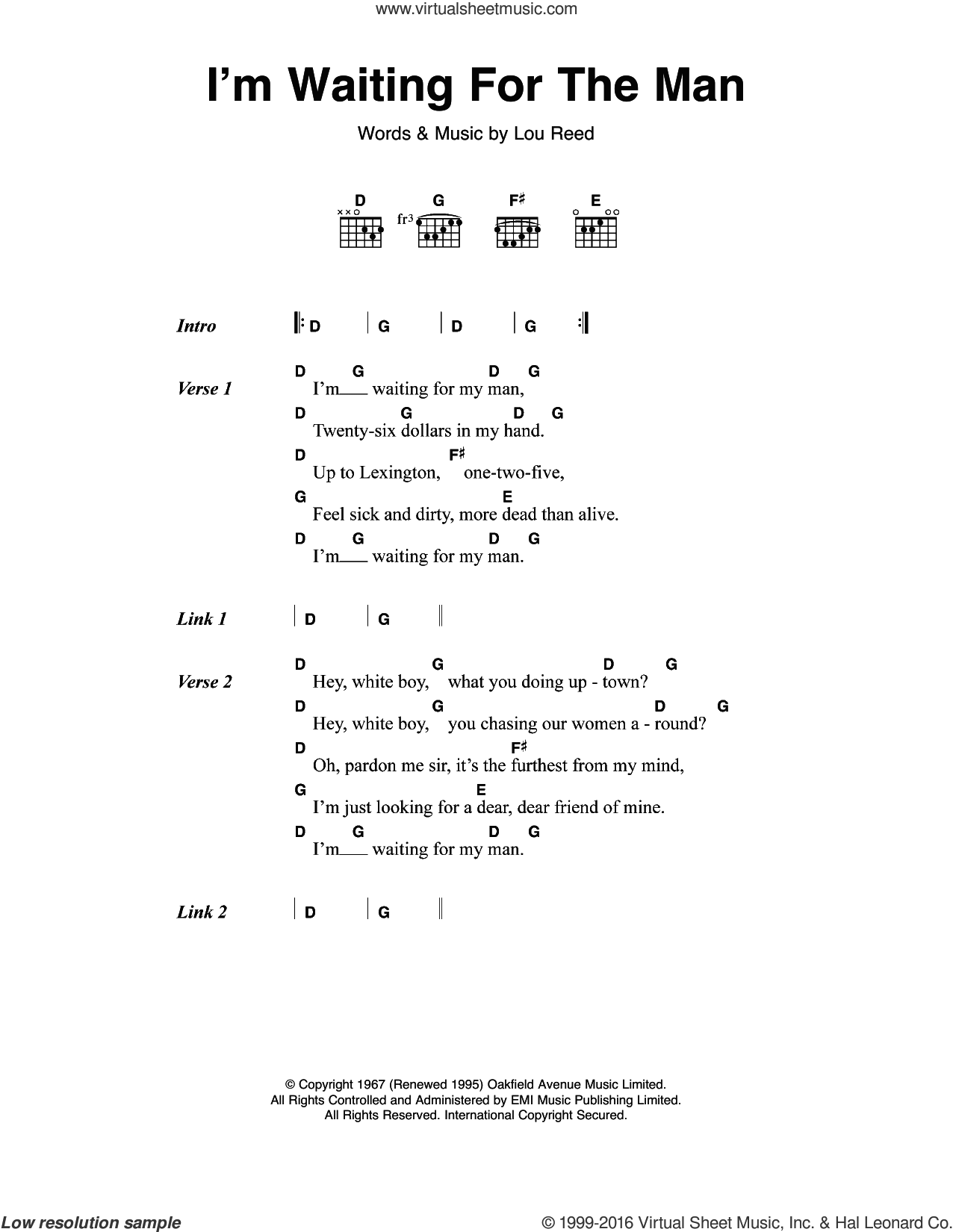 I'm Waiting For The Man (Waiting For My Man) sheet music for guitar (chords) by The Velvet Underground and Lou Reed, intermediate skill level