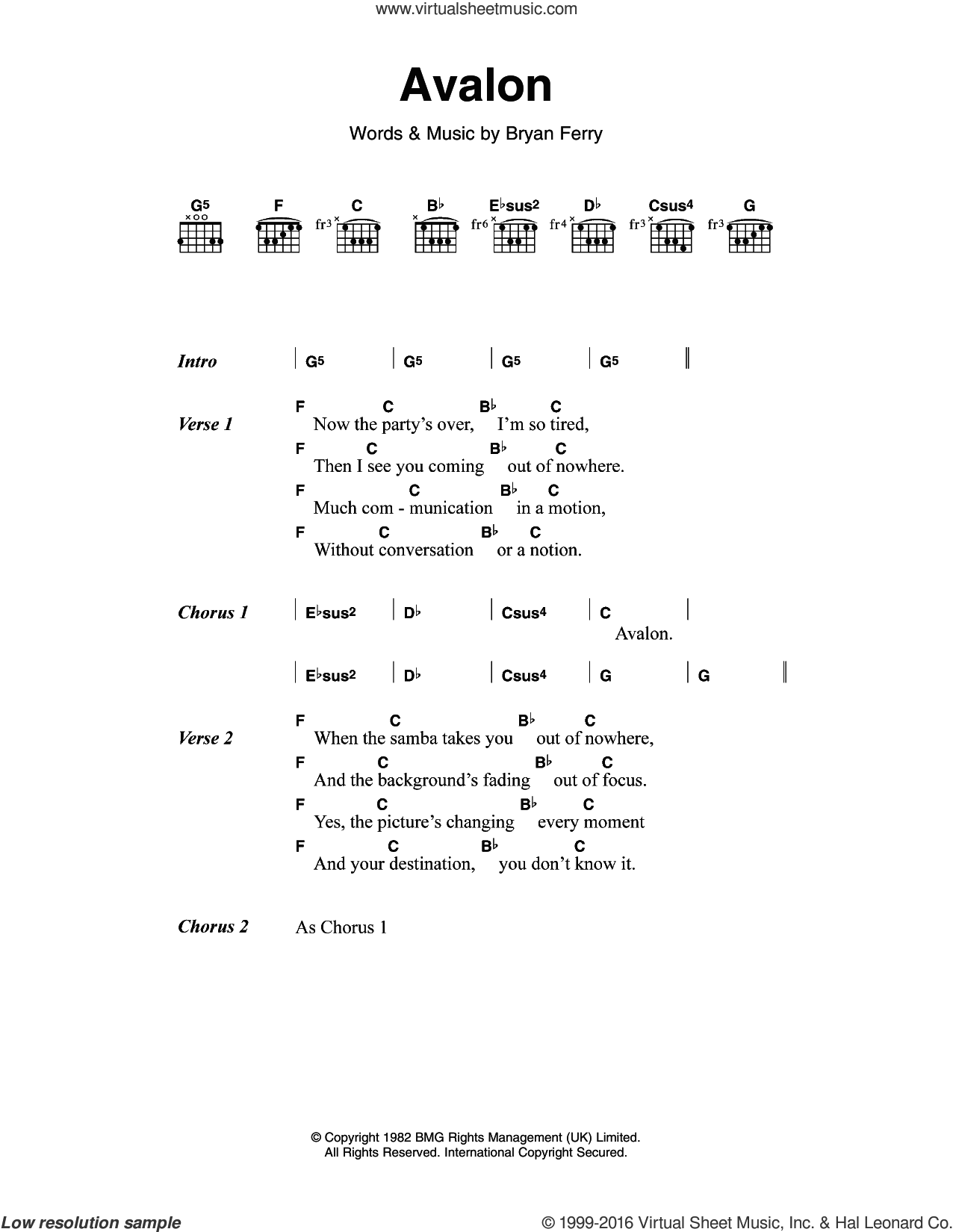 Avalon sheet music for guitar (chords) by Roxy Music, M People and Bryan Ferry, intermediate skill level
