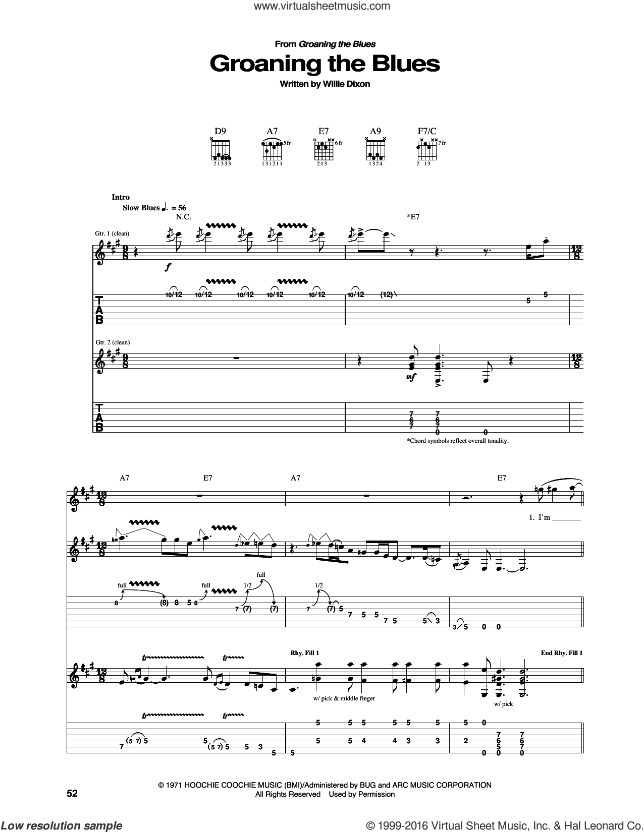 Groaning The Blues sheet music for guitar (tablature) by Willie Dixon and Otis Rush. Score Image Preview.