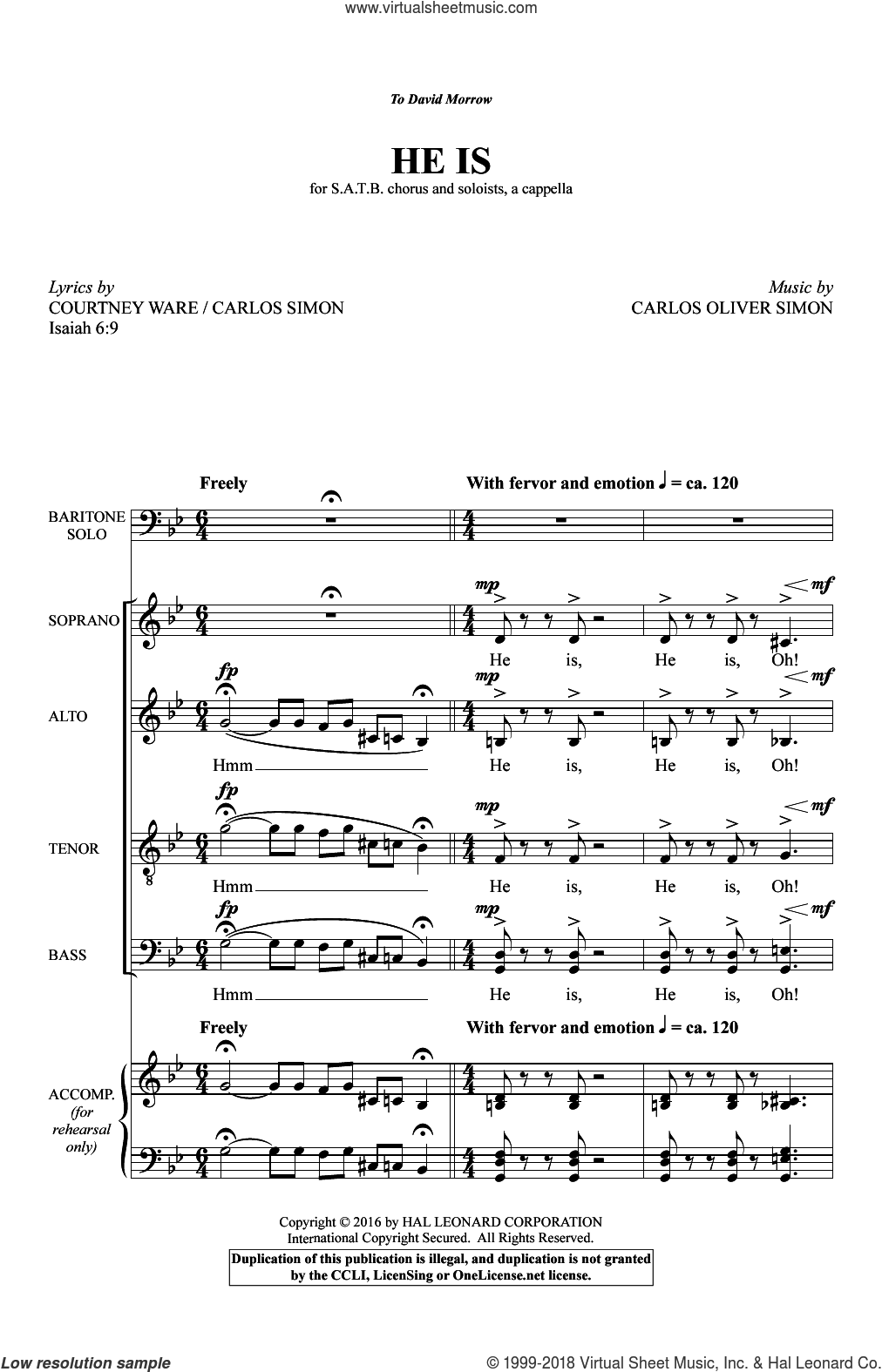 He Is sheet music for choir and piano (SATB) by Courtney D. Ware. Score Image Preview.